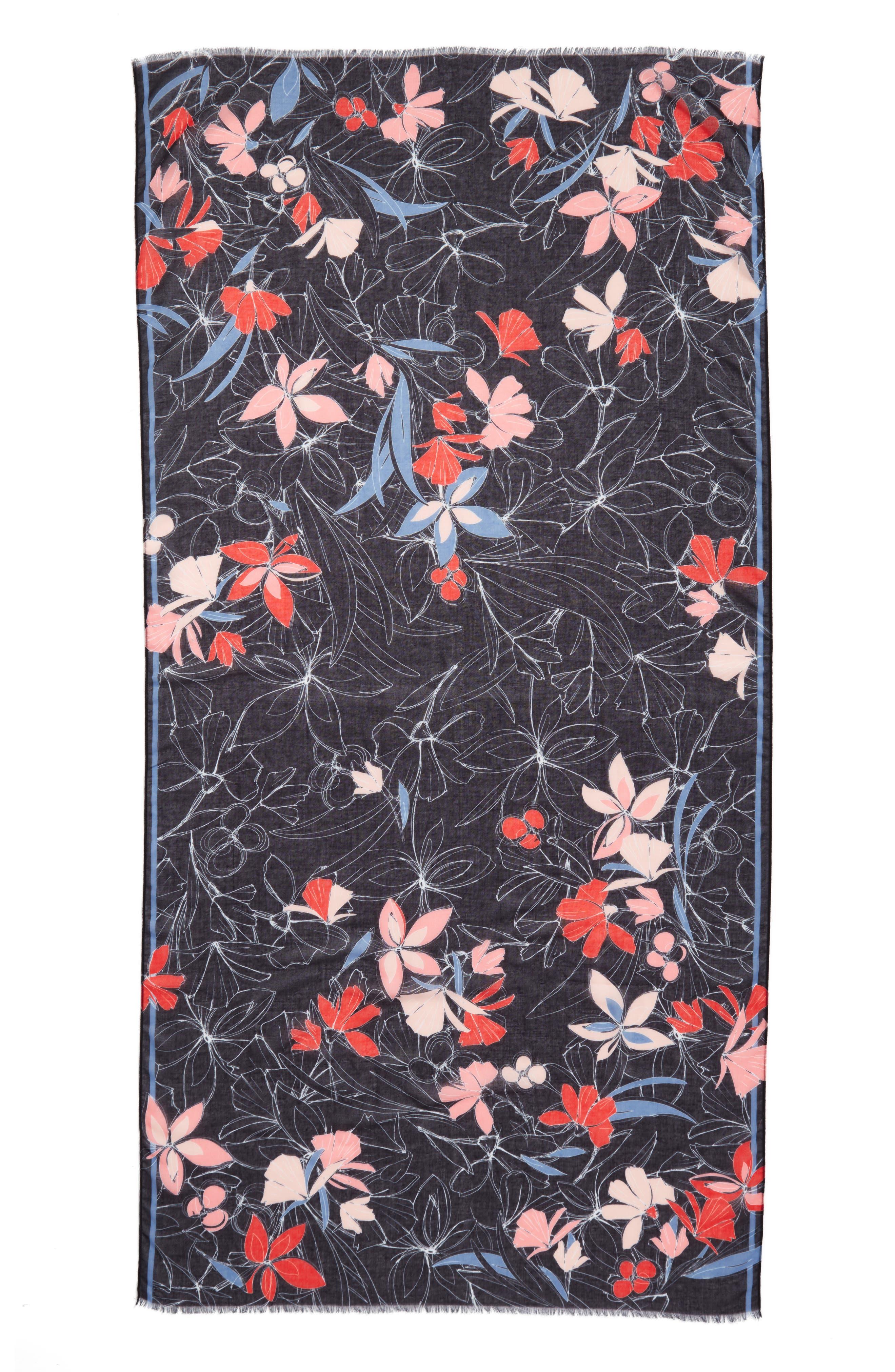 Print Wrap Scarf,                             Alternate thumbnail 6, color,                             Black Scattered Garden