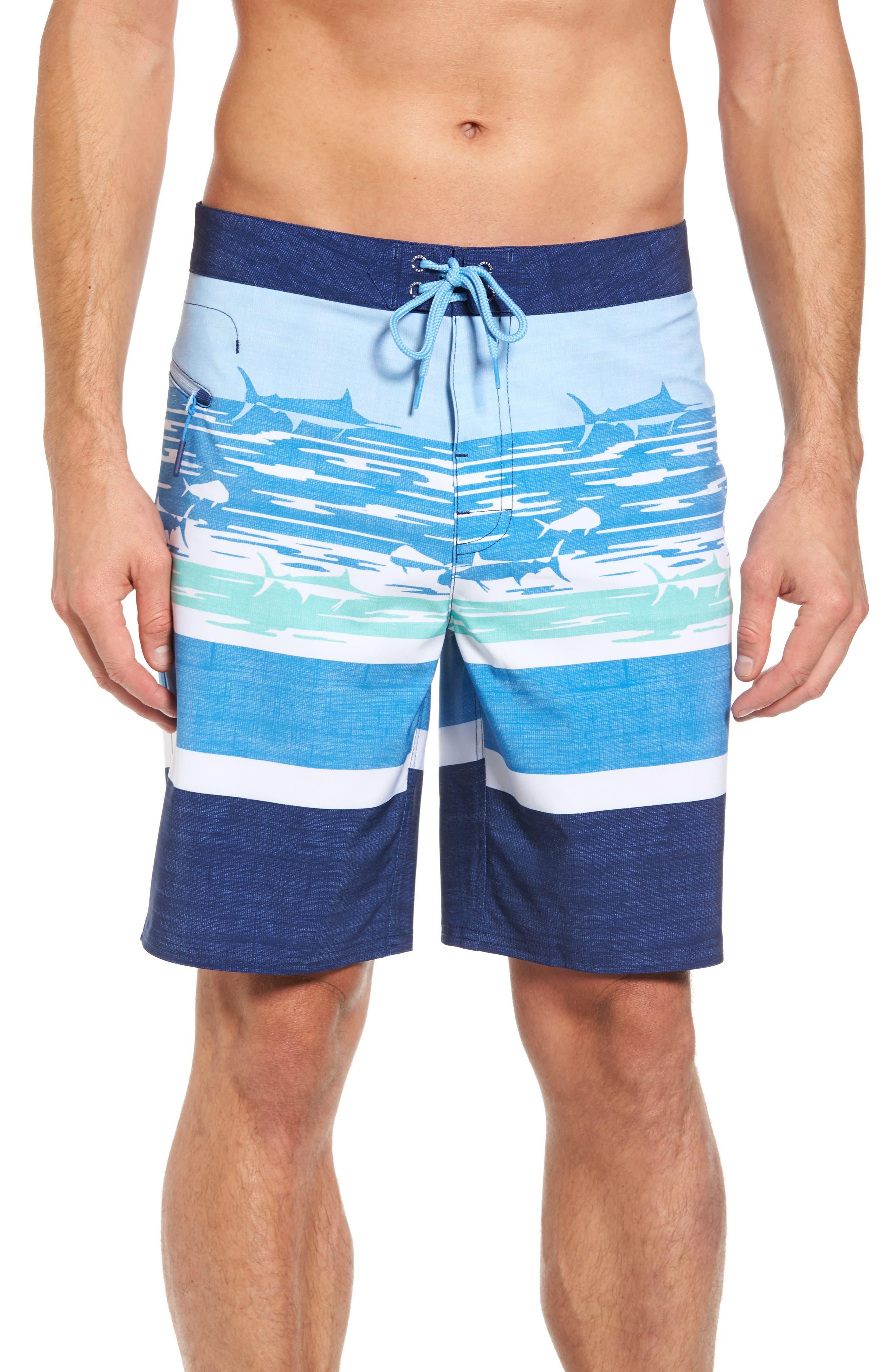 At Sea Scenic Board Shorts,                         Main,                         color, Deep Bay