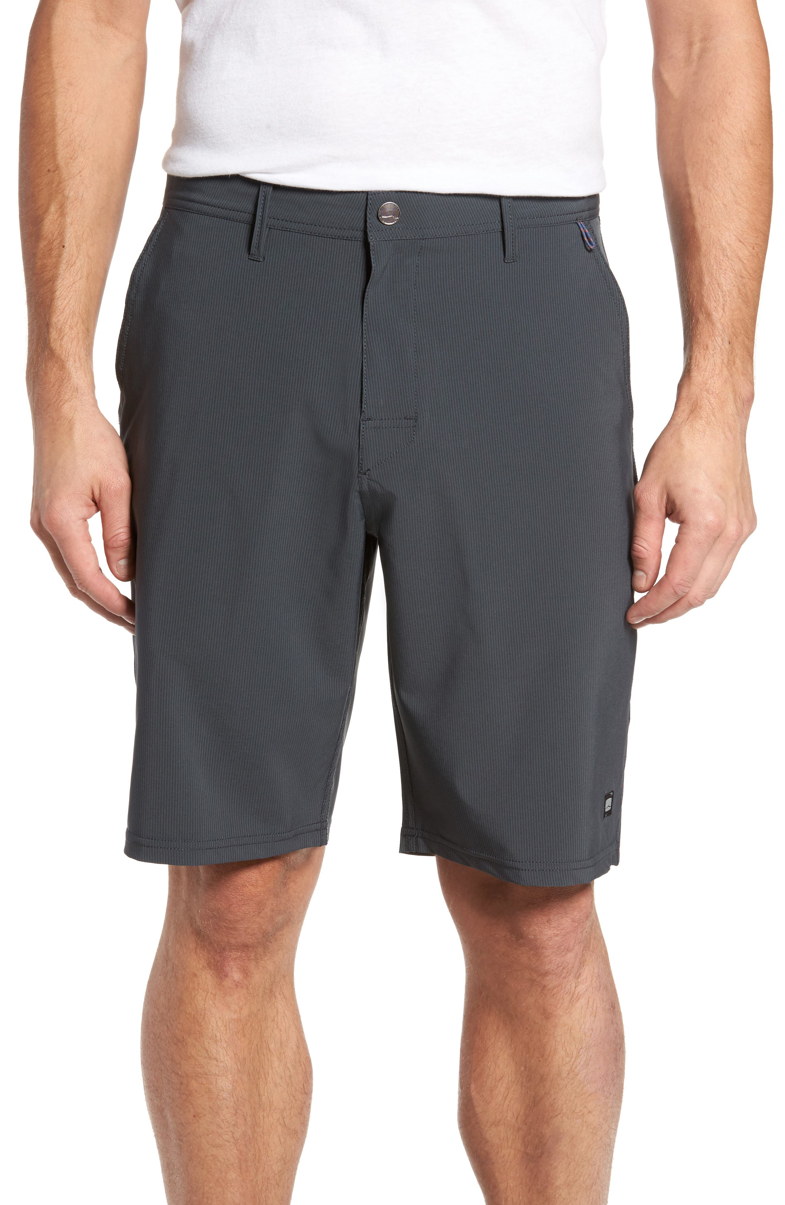 Spotted Regular Fit Stripe Print Hybrid Shorts,                         Main,                         color, Charcoal