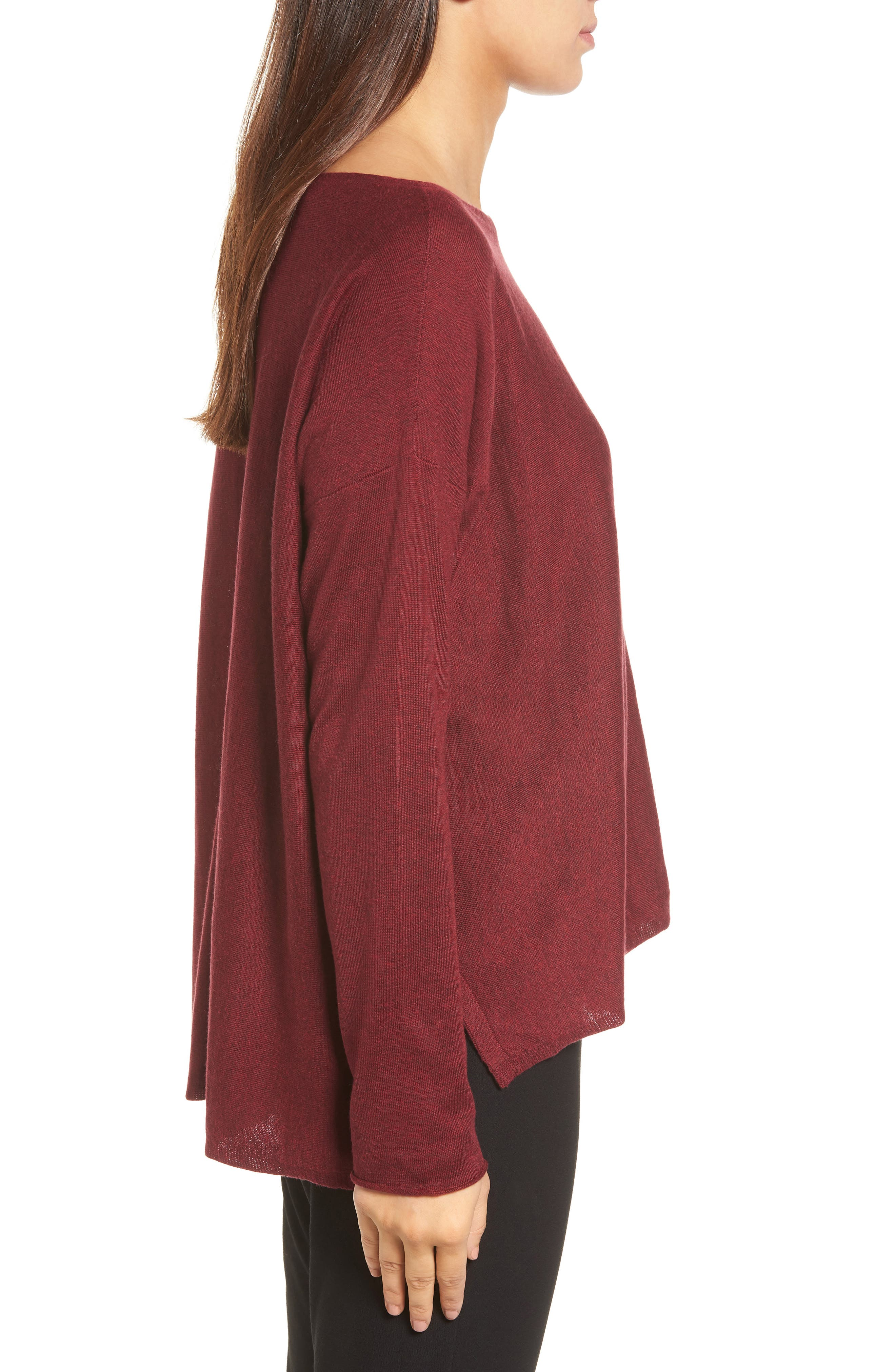 Tencel<sup>®</sup> Lyocell Blend High/Low Sweater,                             Alternate thumbnail 3, color,                             Claret