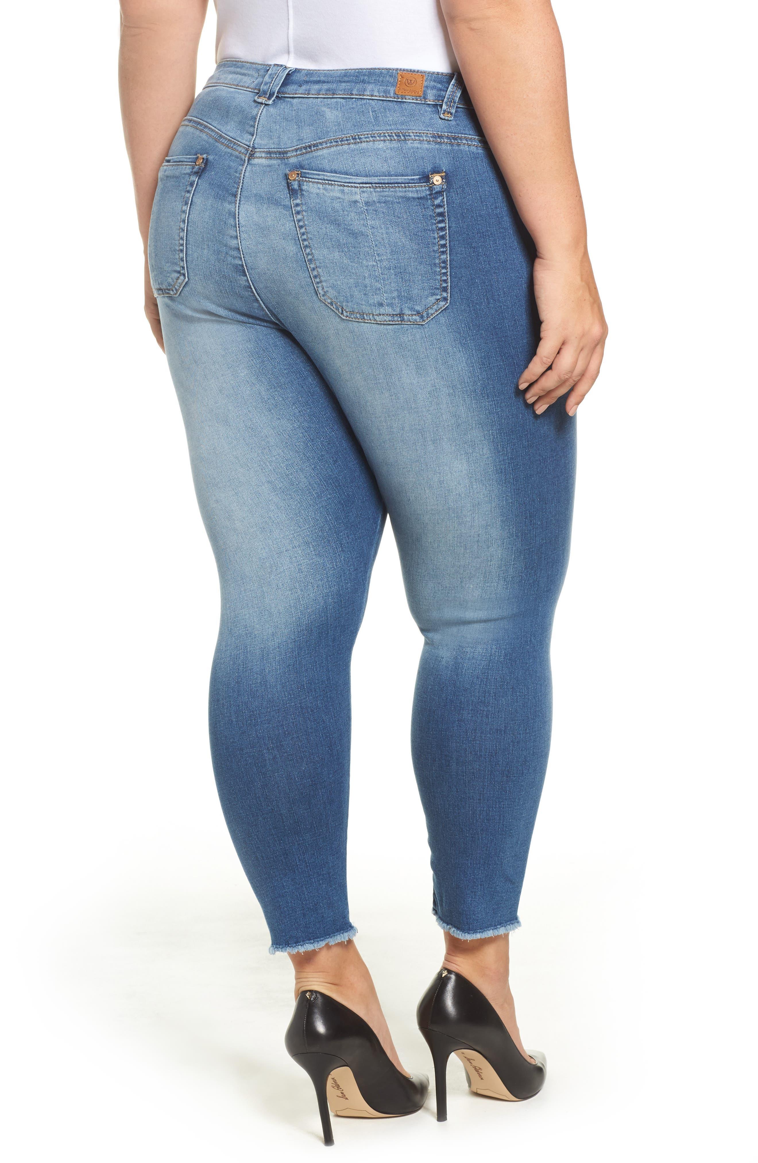 Alternate Image 2  - Wit & Wisdom Frayed Hem Skinny Jeans (Plus Size) (Nordstrom Exclusive)