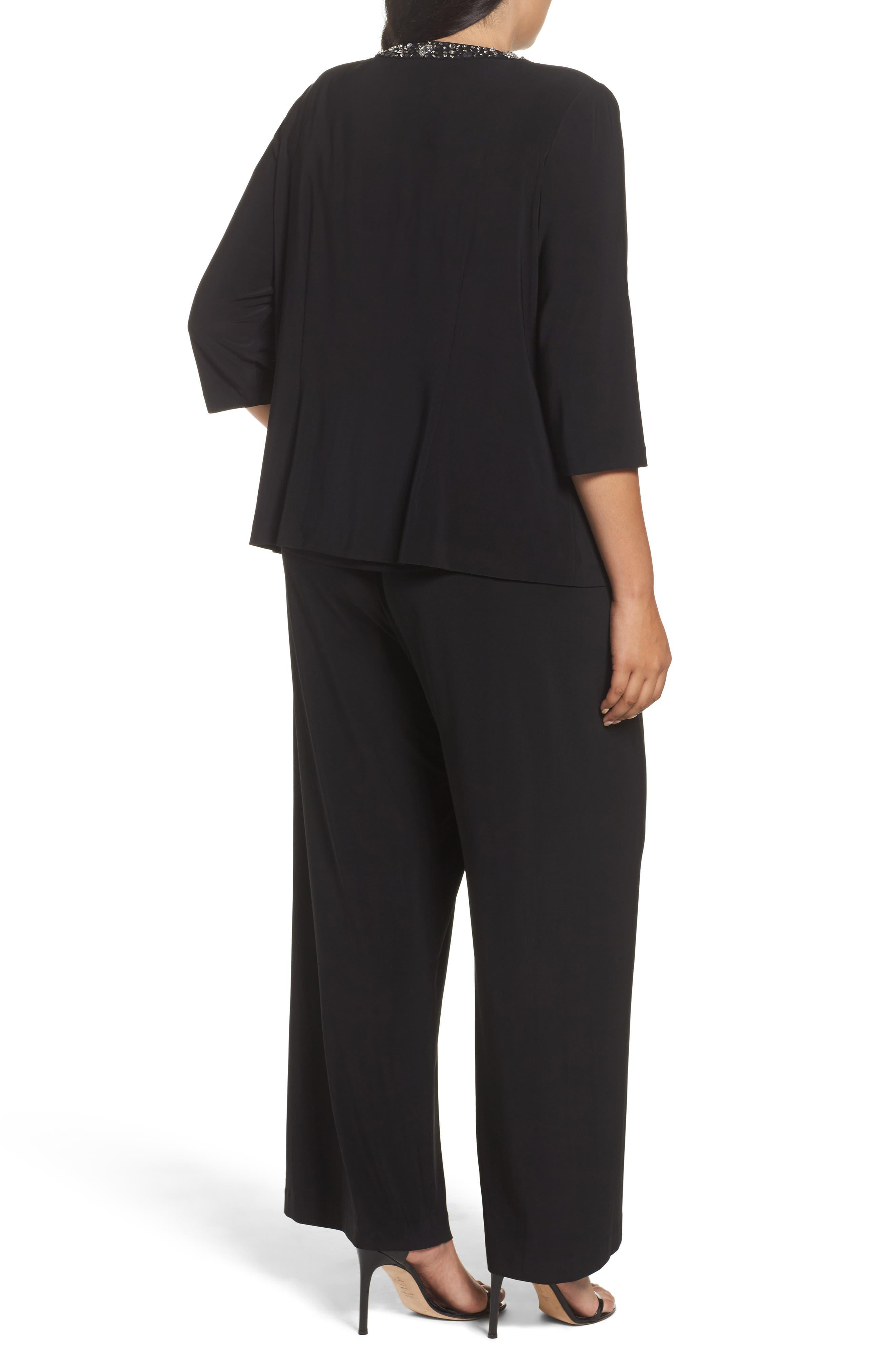 Embellished Three-Piece Pant Suit,                             Alternate thumbnail 3, color,                             Black
