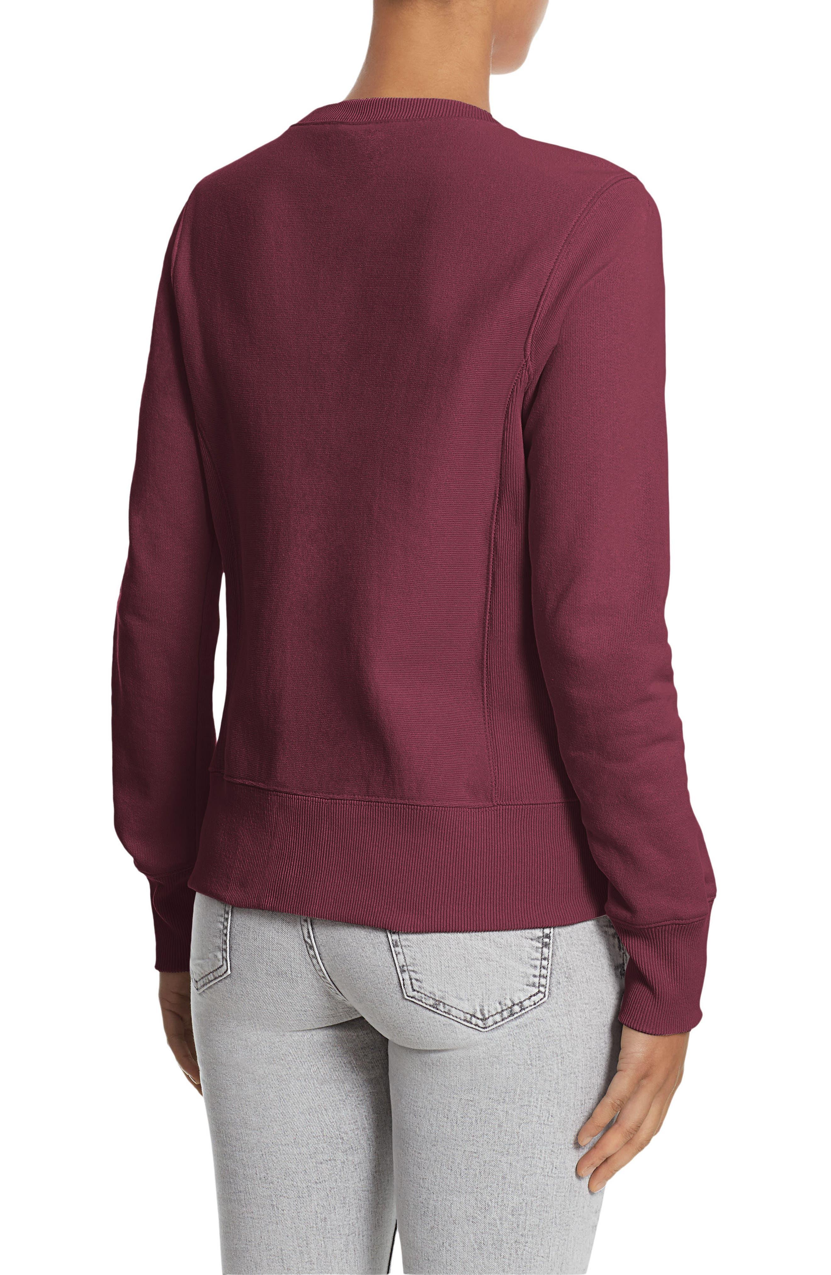 Reverse Weave<sup>®</sup> French Terry Crewneck Sweatshirt,                             Alternate thumbnail 2, color,                             Bordeaux Red