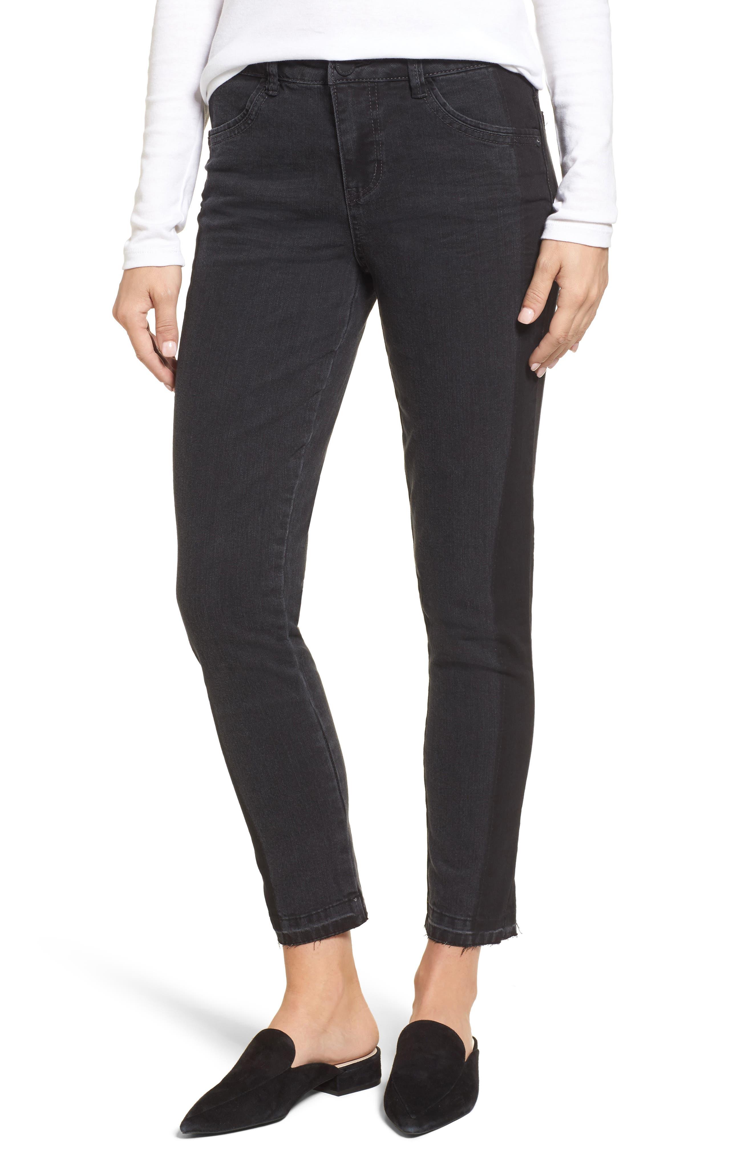 Tuxedo Stripe Skinny Jeans,                         Main,                         color, Grey