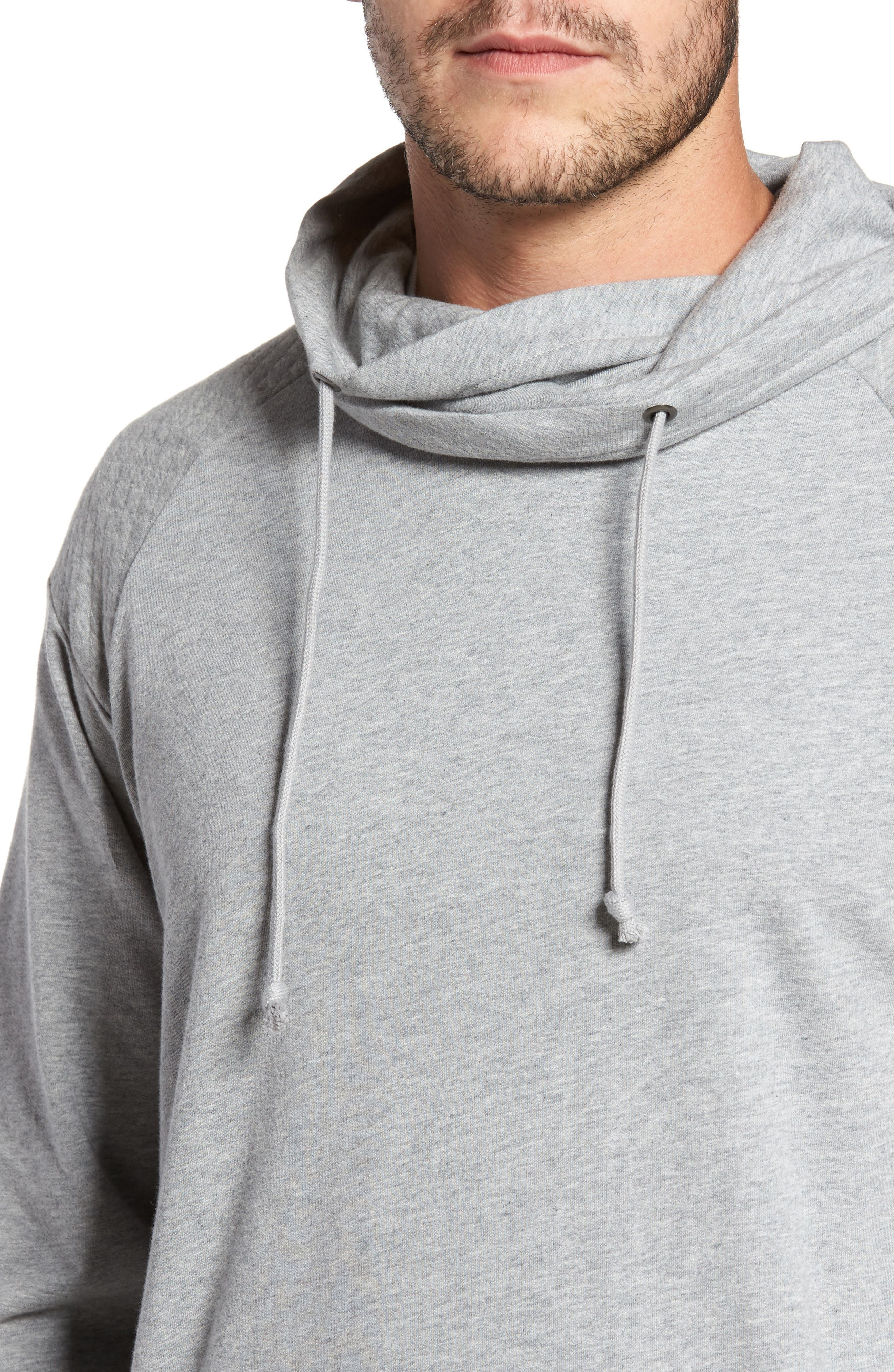Quilted Funnel Neck Pullover,                             Alternate thumbnail 4, color,                             Grey Heather