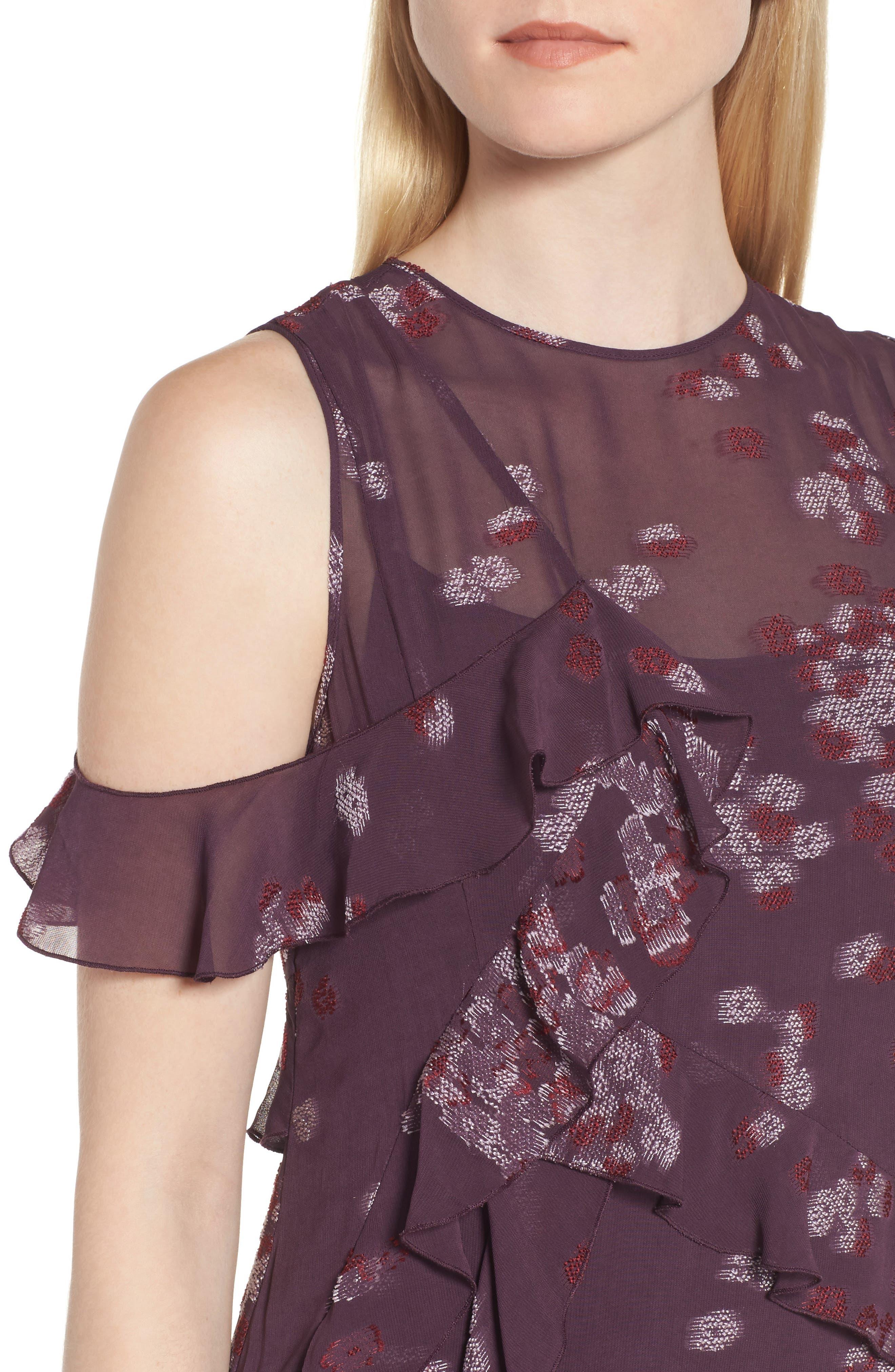 Jacquard Ruffle Dress,                             Alternate thumbnail 4, color,                             Purple Plum Scattered Floral