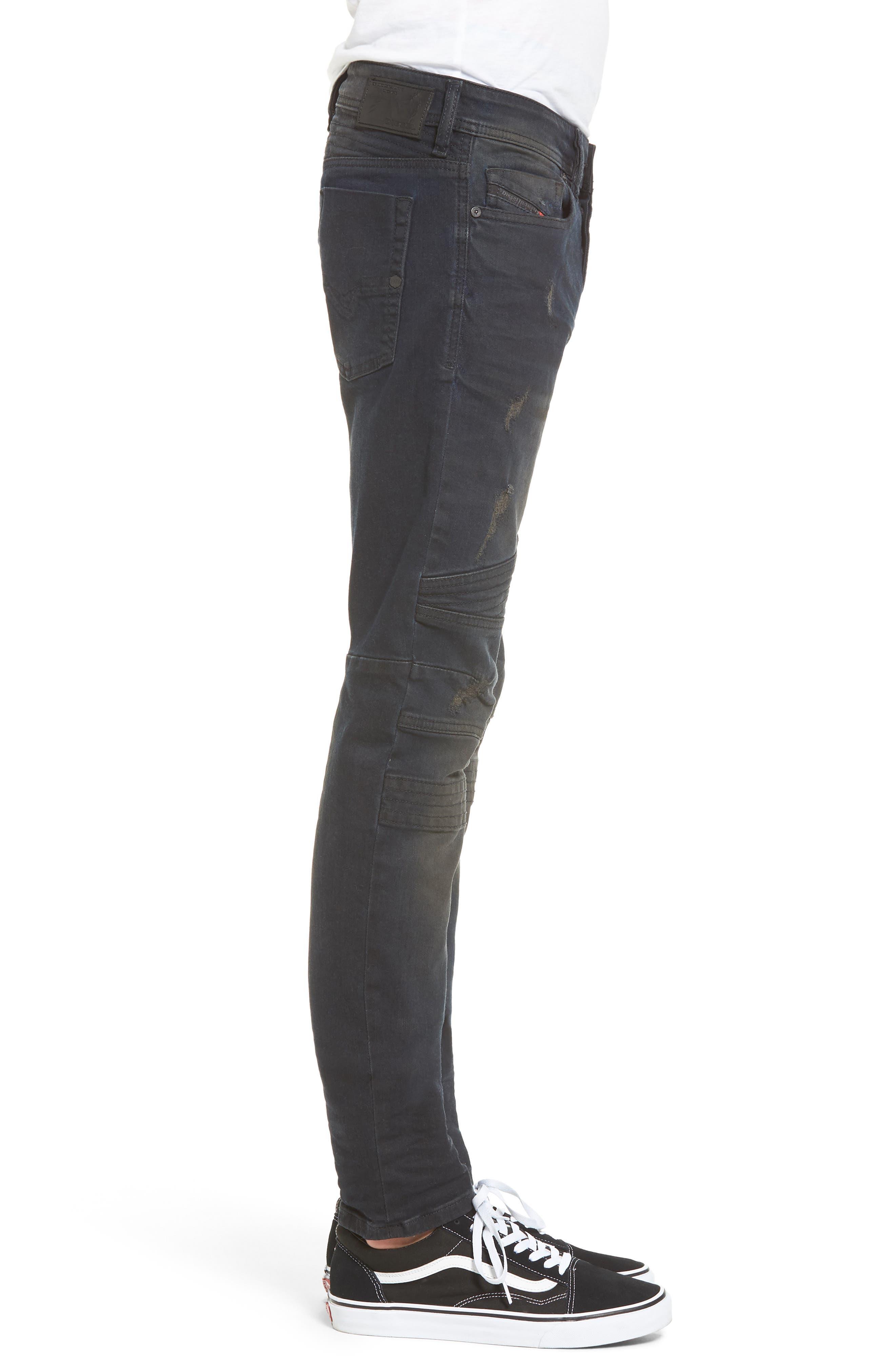 Fourk Skinny Fit Jeans,                             Alternate thumbnail 3, color,                             Denim