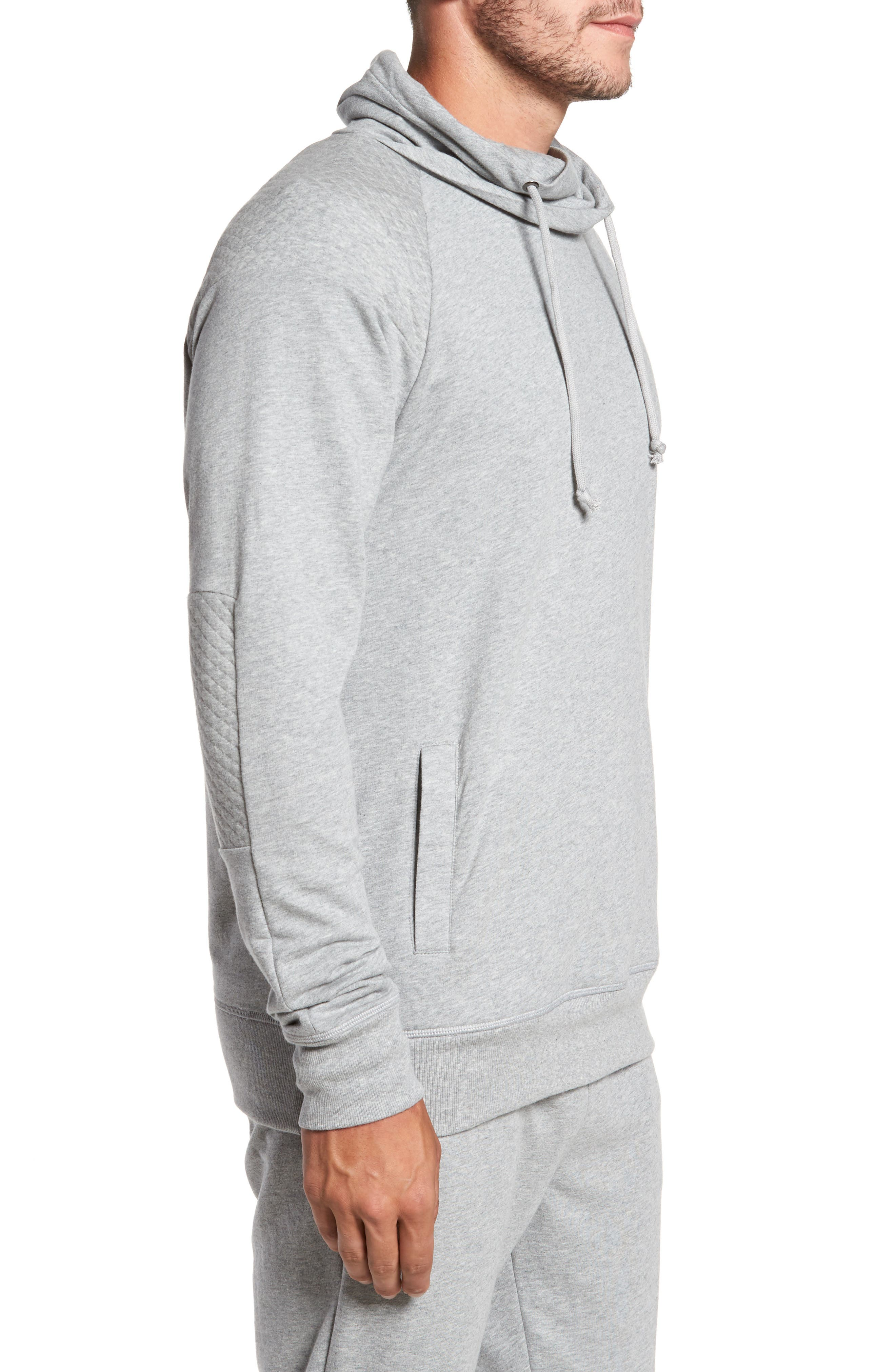 Quilted Funnel Neck Pullover,                             Alternate thumbnail 3, color,                             Grey Heather