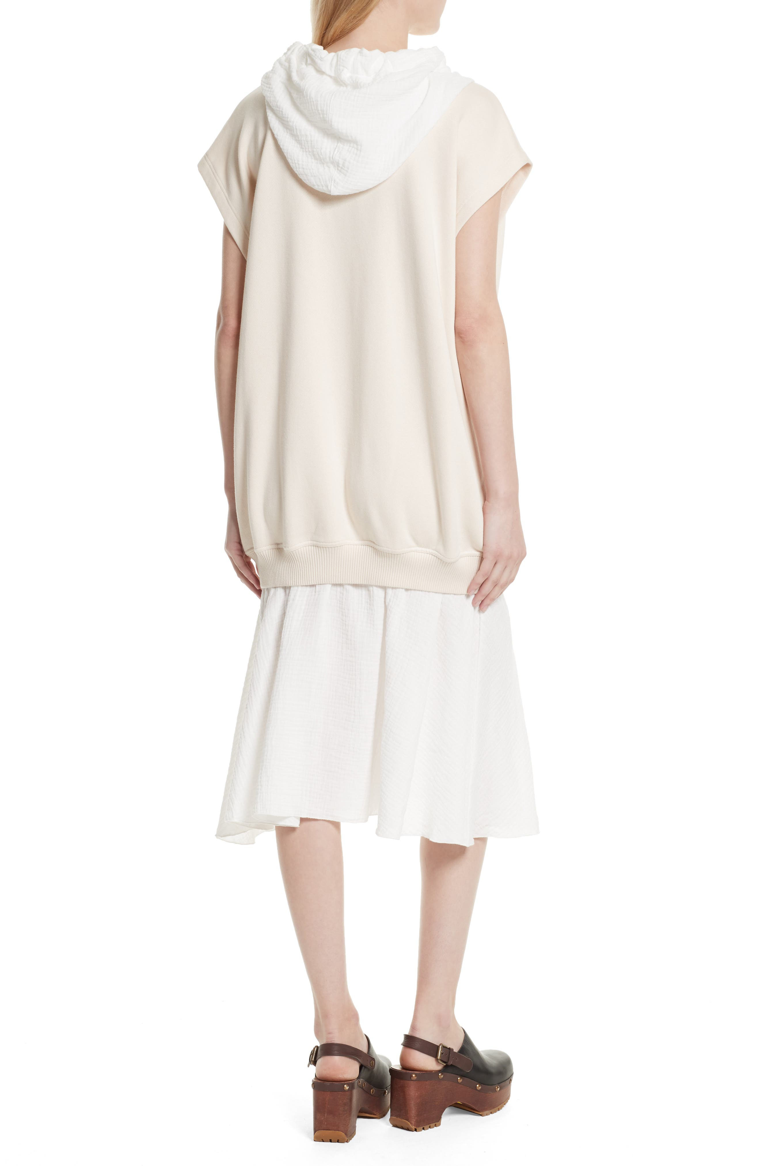 Hooded Sweatshirt Overlay Dress,                             Alternate thumbnail 3, color,                             Abstract White