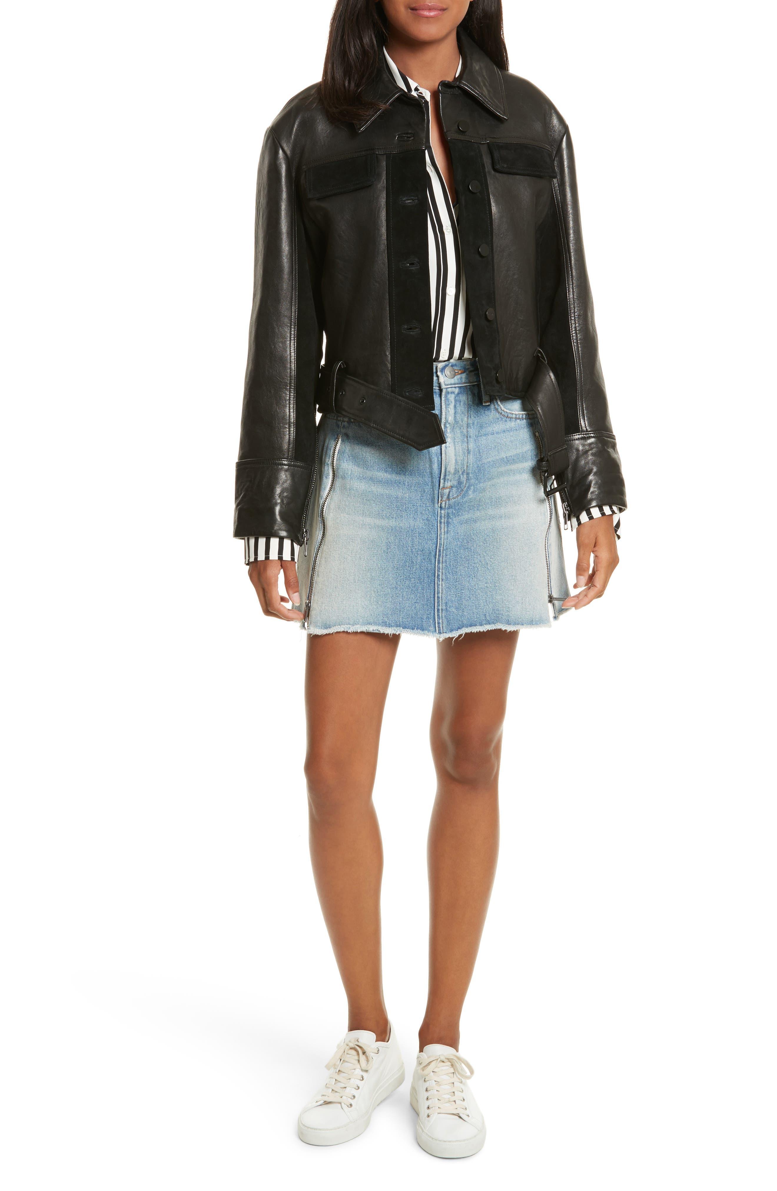 Alternate Image 6  - FRAME Paneled Leather & Suede Jacket