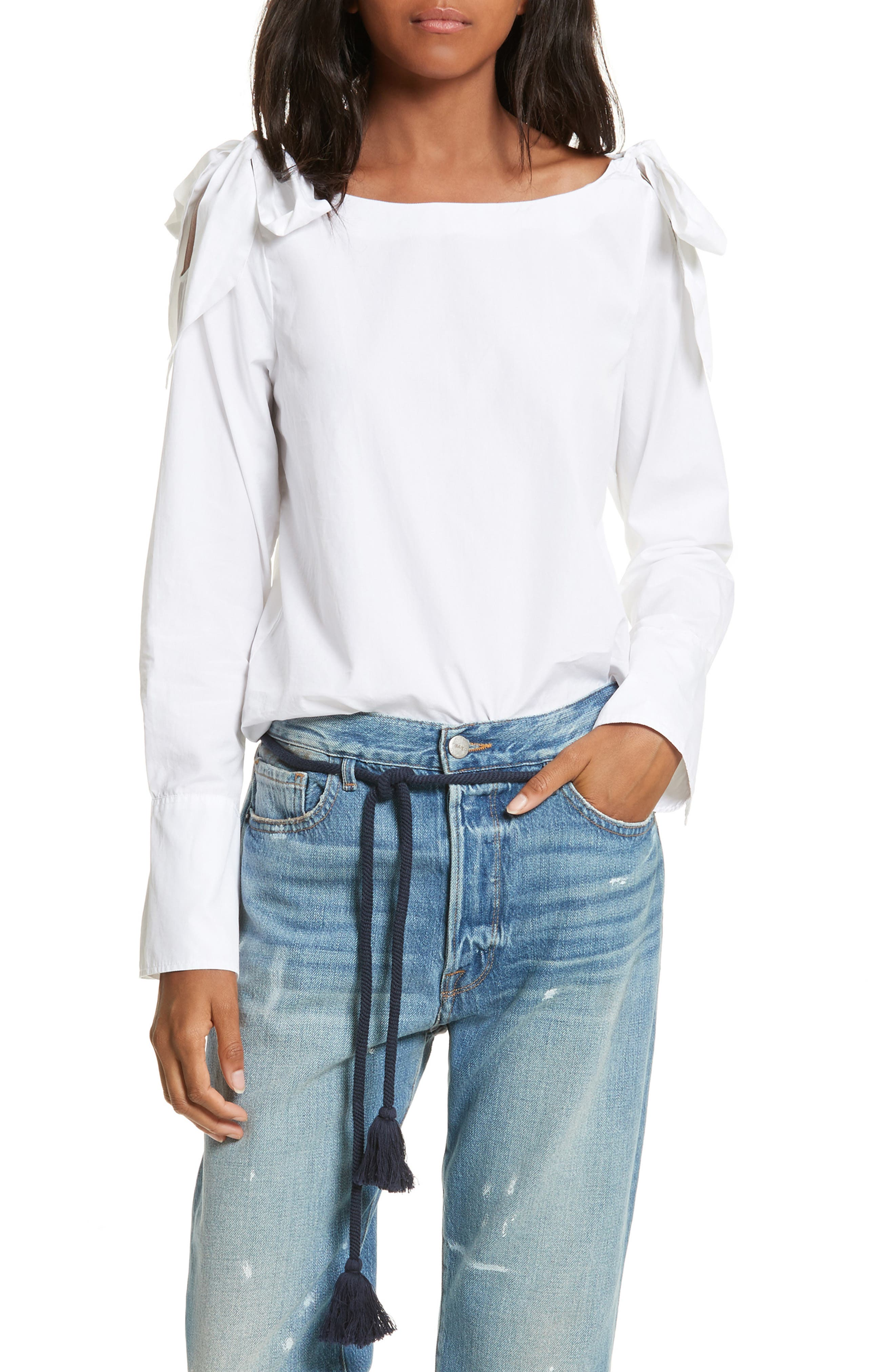 Alternate Image 1 Selected - FRAME Bow Cold Shoulder Cotton Blouse