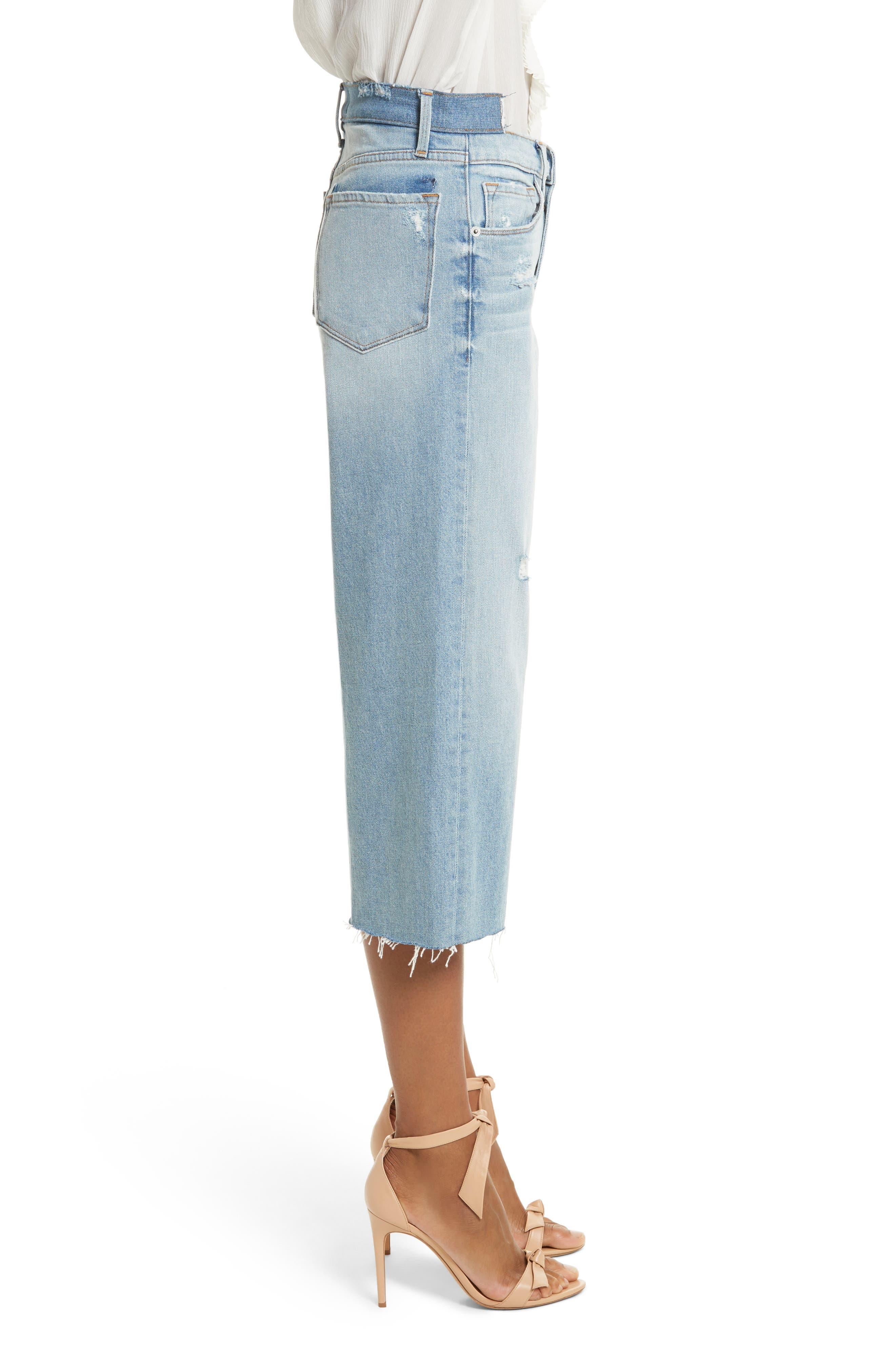 Le Reconstructed High Waist Crop Wide Leg Jeans,                             Alternate thumbnail 4, color,                             Blue