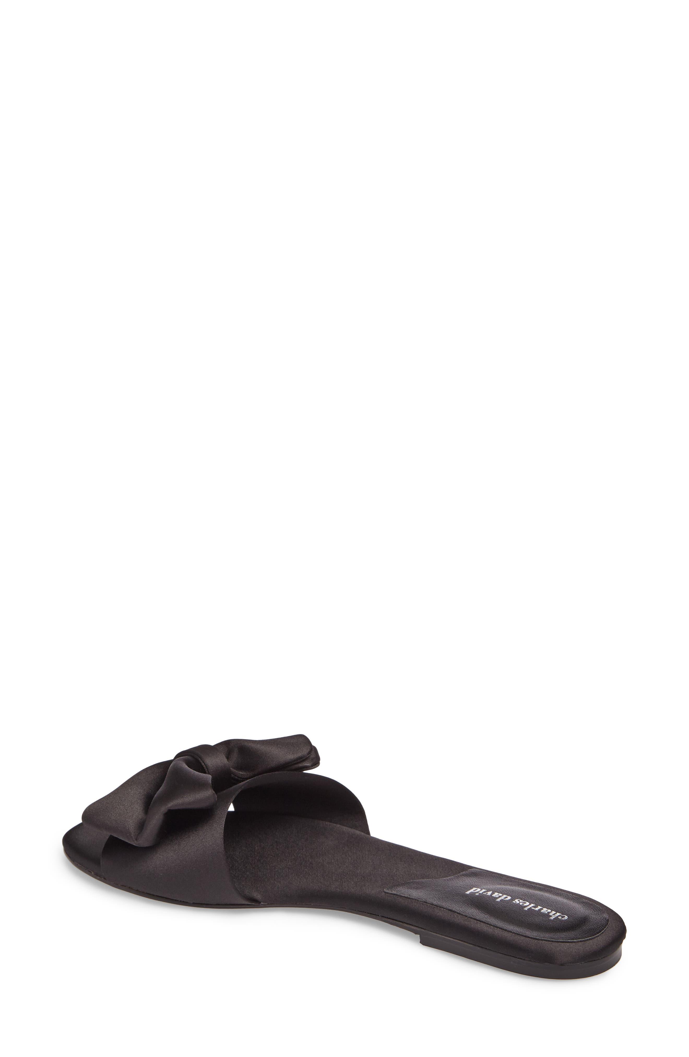Bow Slide Sandal,                             Alternate thumbnail 2, color,                             Black Satin
