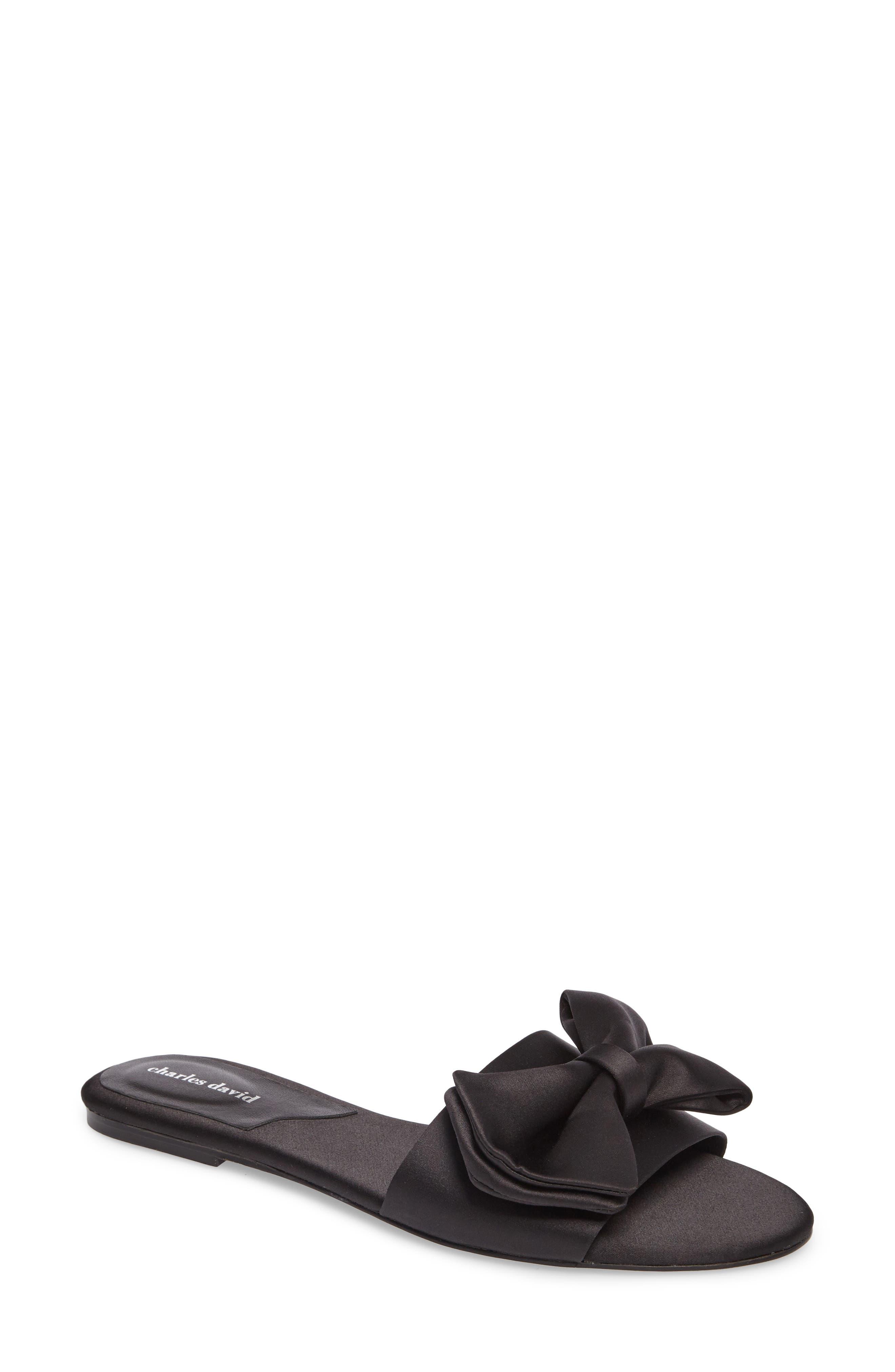 Bow Slide Sandal,                             Main thumbnail 1, color,                             Black Satin