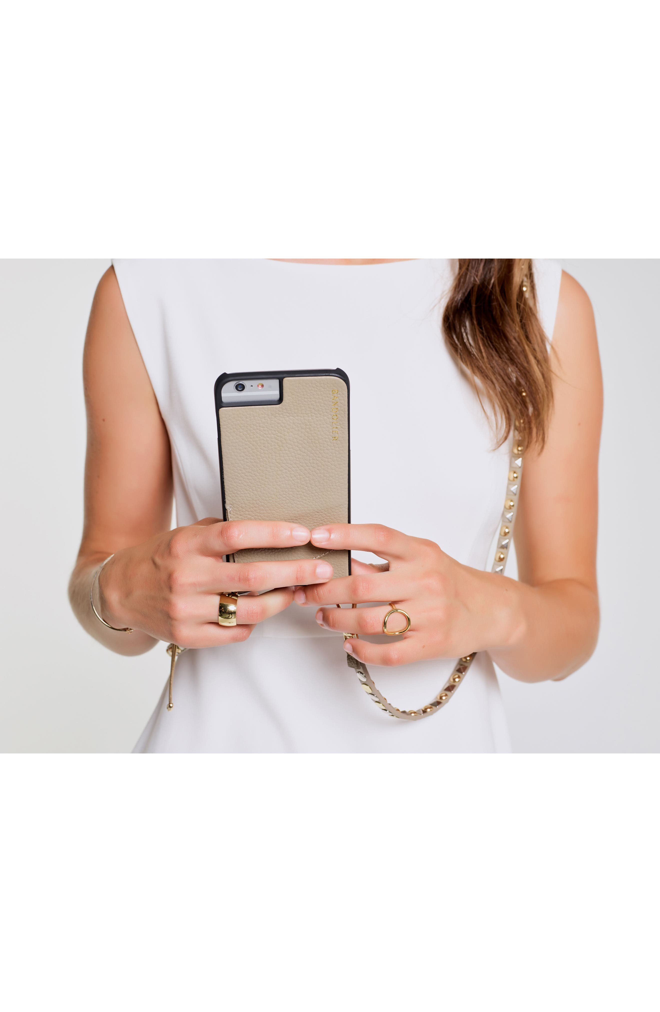 Stella iPhone 6/7/8 & 6/7/8 Plus Leather Crossbody Case,                             Alternate thumbnail 5, color,                             Pebble/ Gold/ Silver
