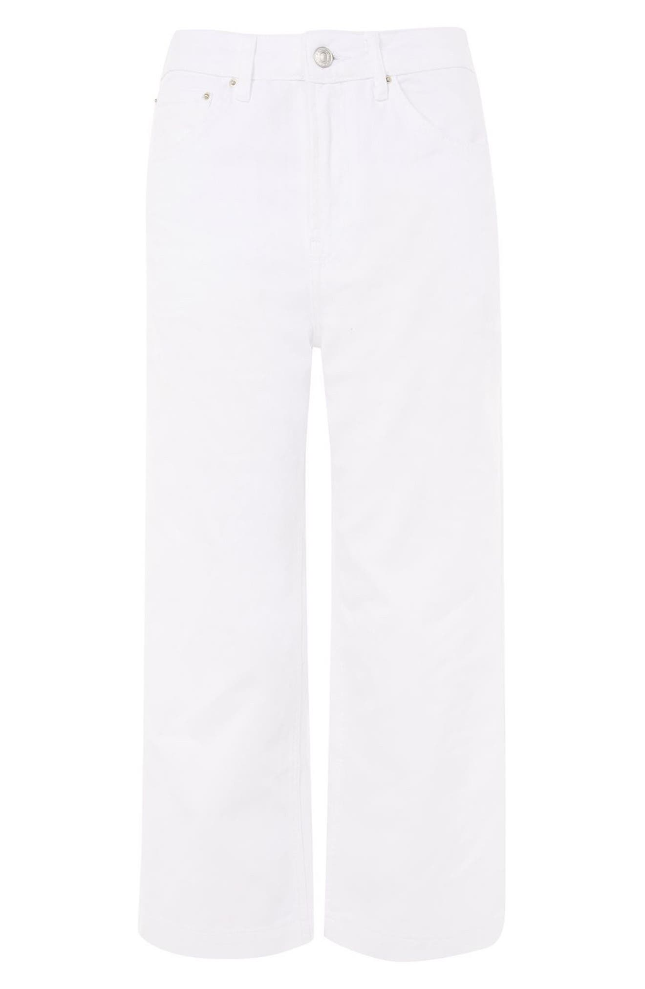 Wide Leg Cropped Jeans,                             Alternate thumbnail 4, color,                             White