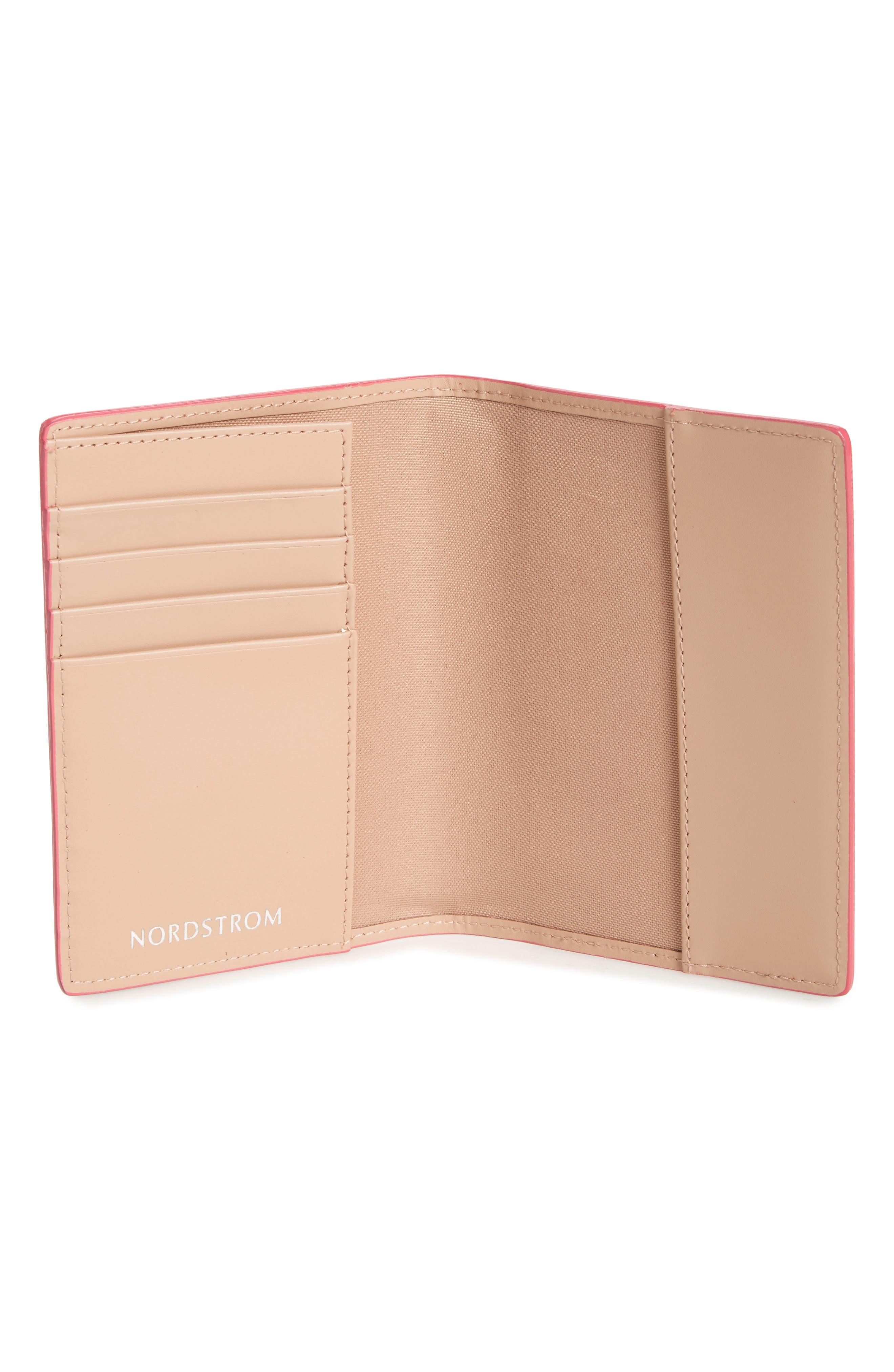 Leather Passport Case,                             Alternate thumbnail 3, color,                             Pink Rapture