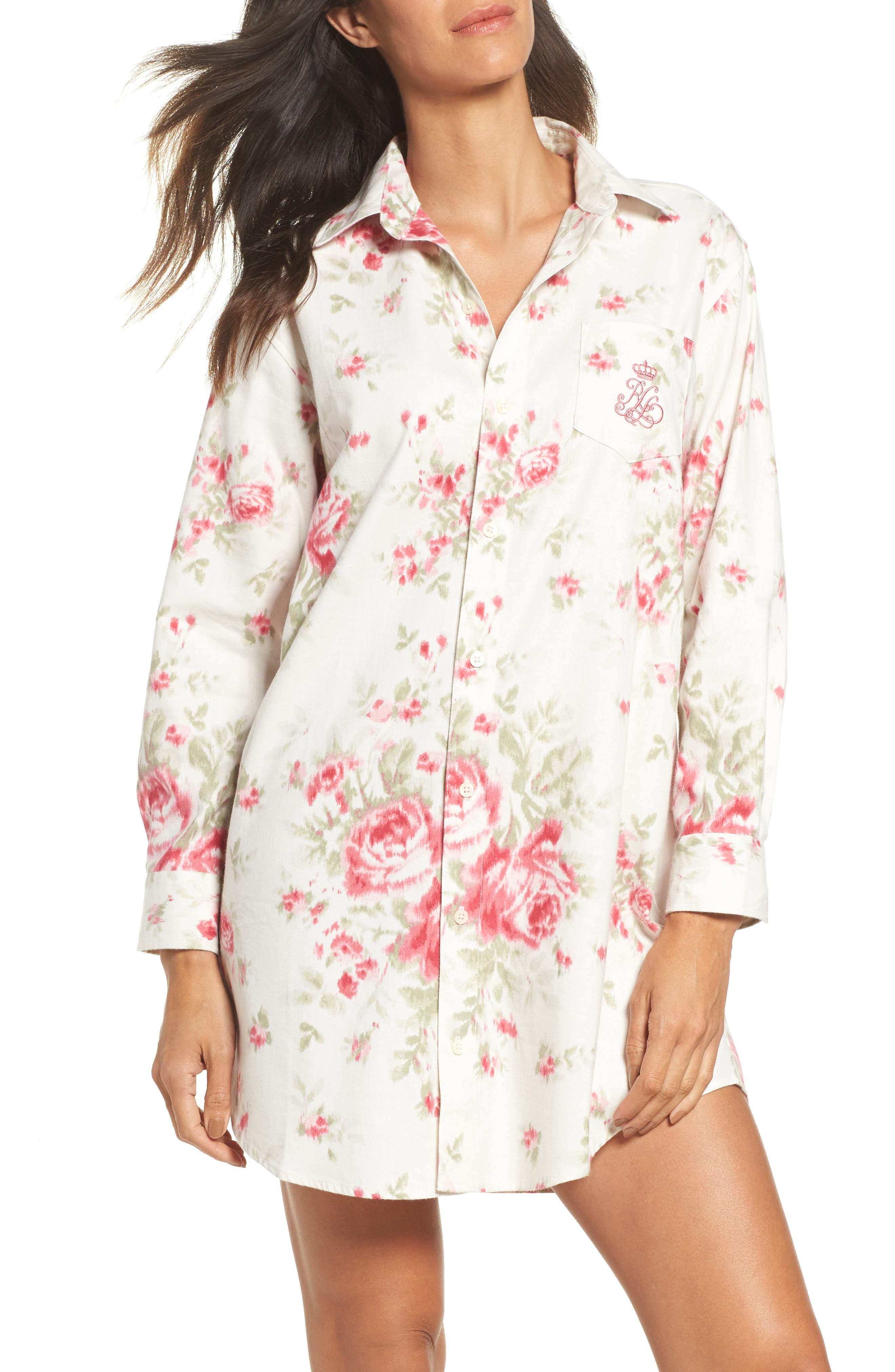 Flannel Sleep Shirt,                         Main,                         color, Big Rose Floral