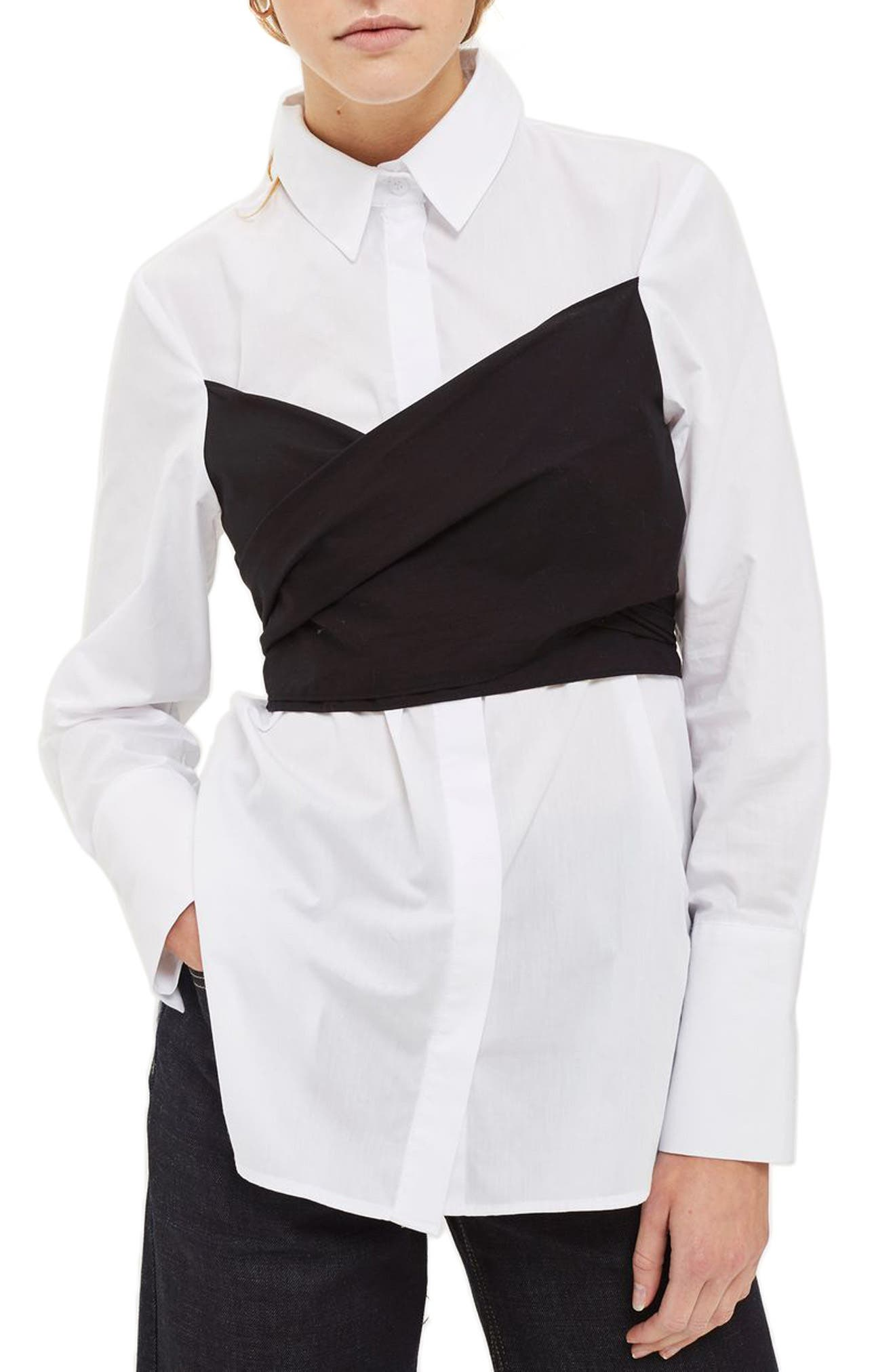 Corset Wraparound Shirt,                         Main,                         color, White Multi