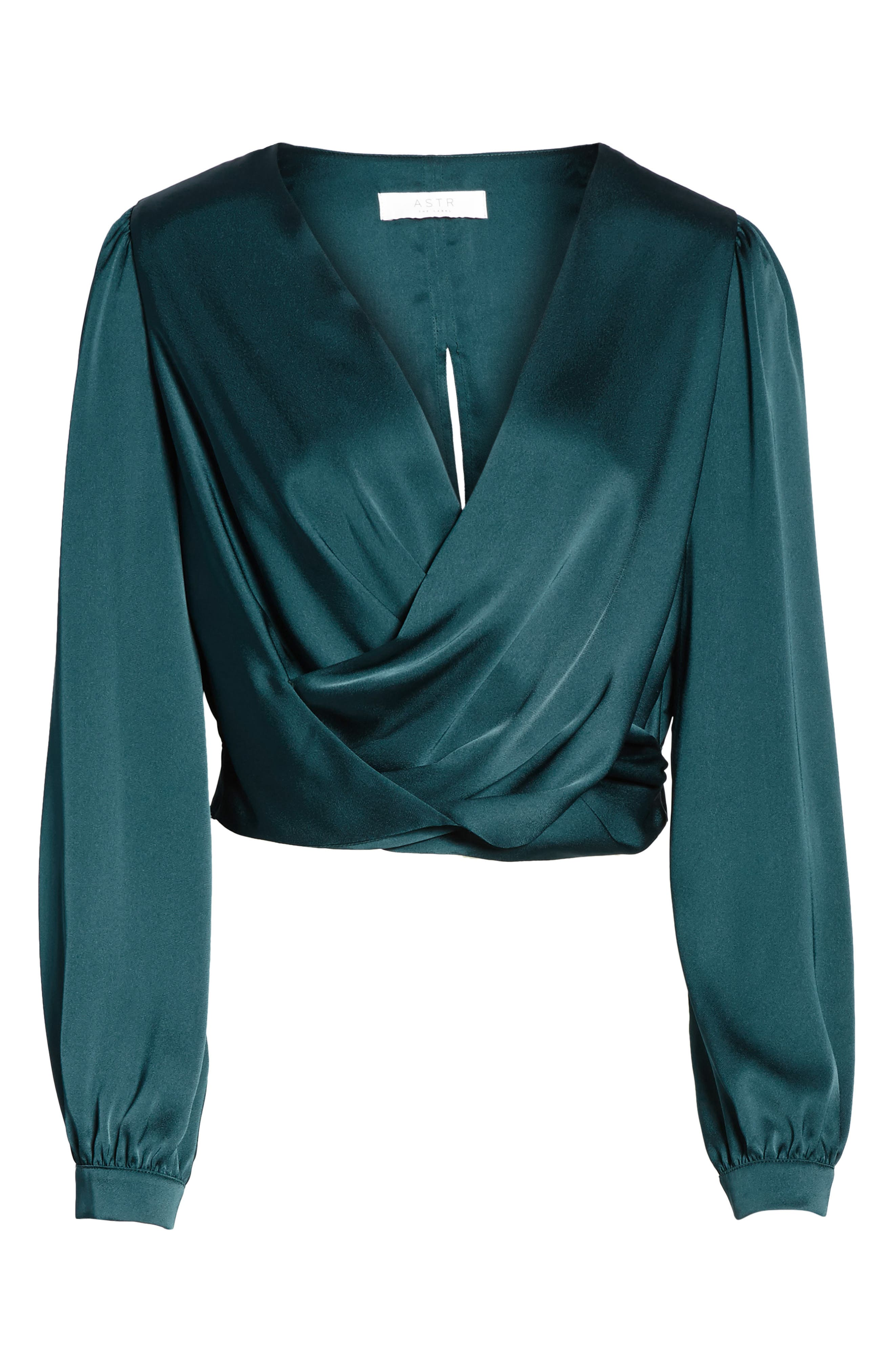 Alternate Image 6  - ASTR the Label Satin Crop Faux Wrap Top