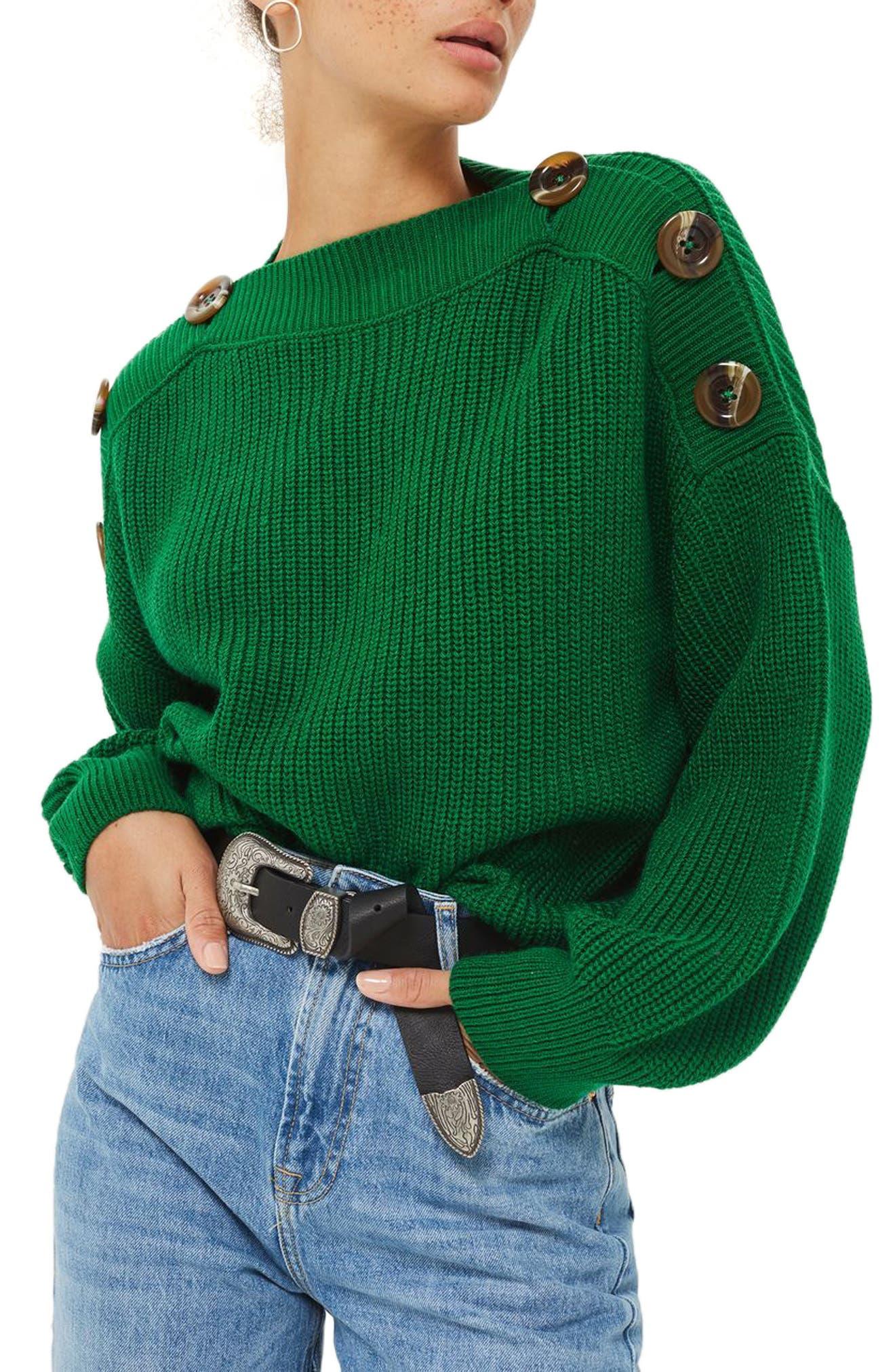 Button Slash Knit Sweater,                             Main thumbnail 1, color,                             Green