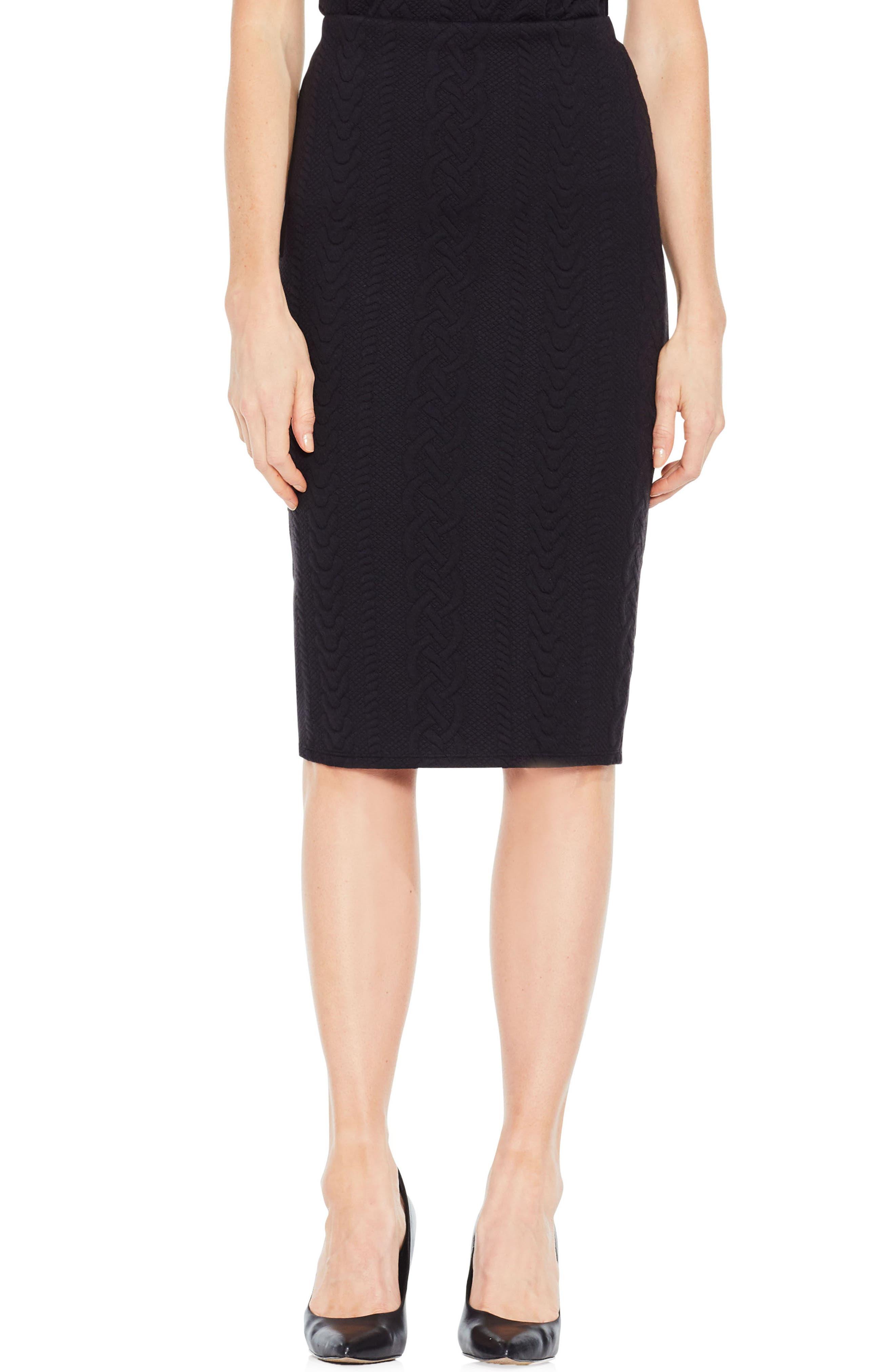 Cable Jacquard Pencil Skirt,                         Main,                         color, Rich Black