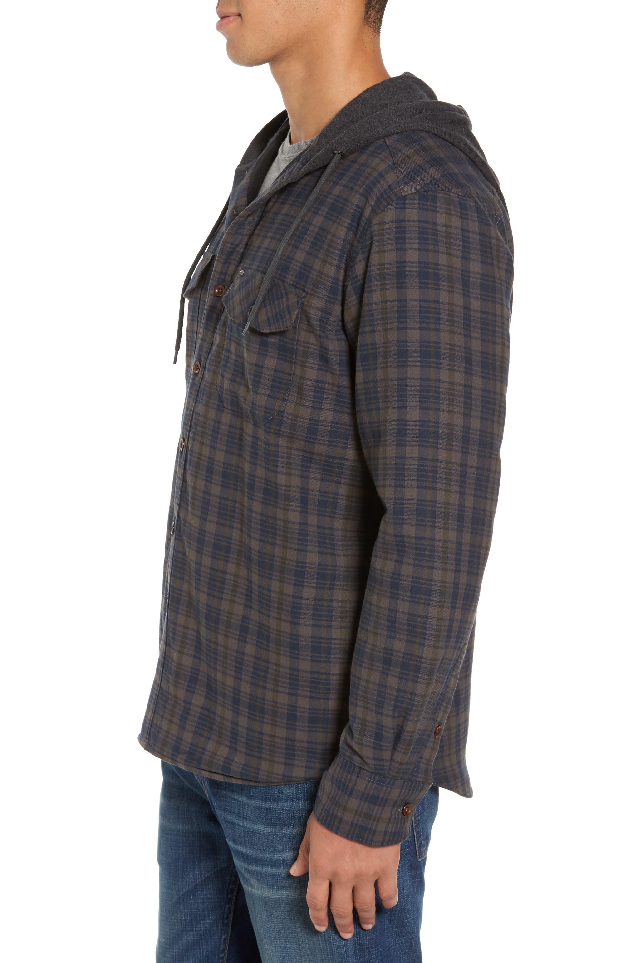 Hooded Plaid Flannel Shirt Jacket,                             Alternate thumbnail 3, color,                             Oak