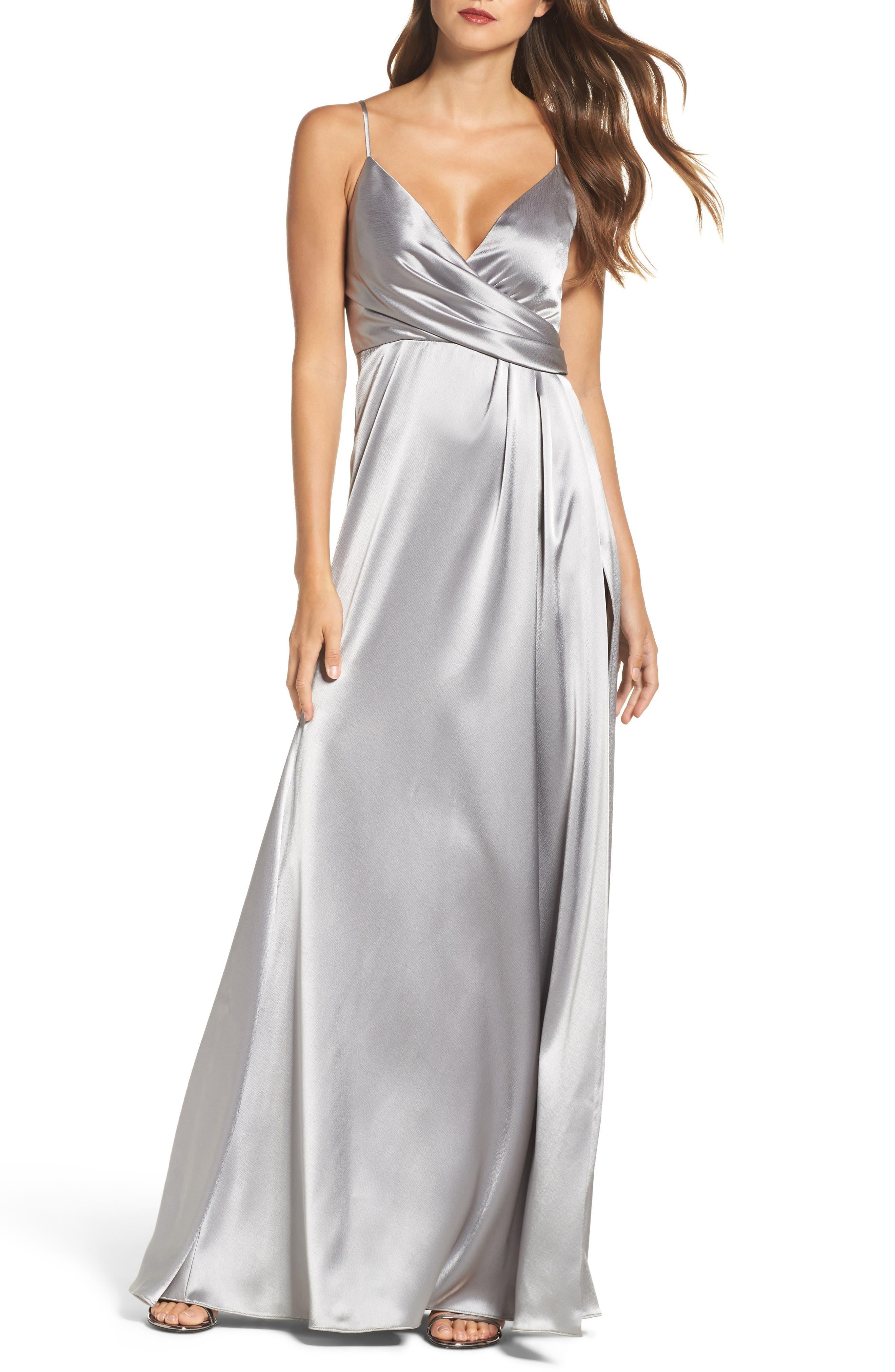 Main Image - Jill Jill Stuart Faux Wrap Satin Gown
