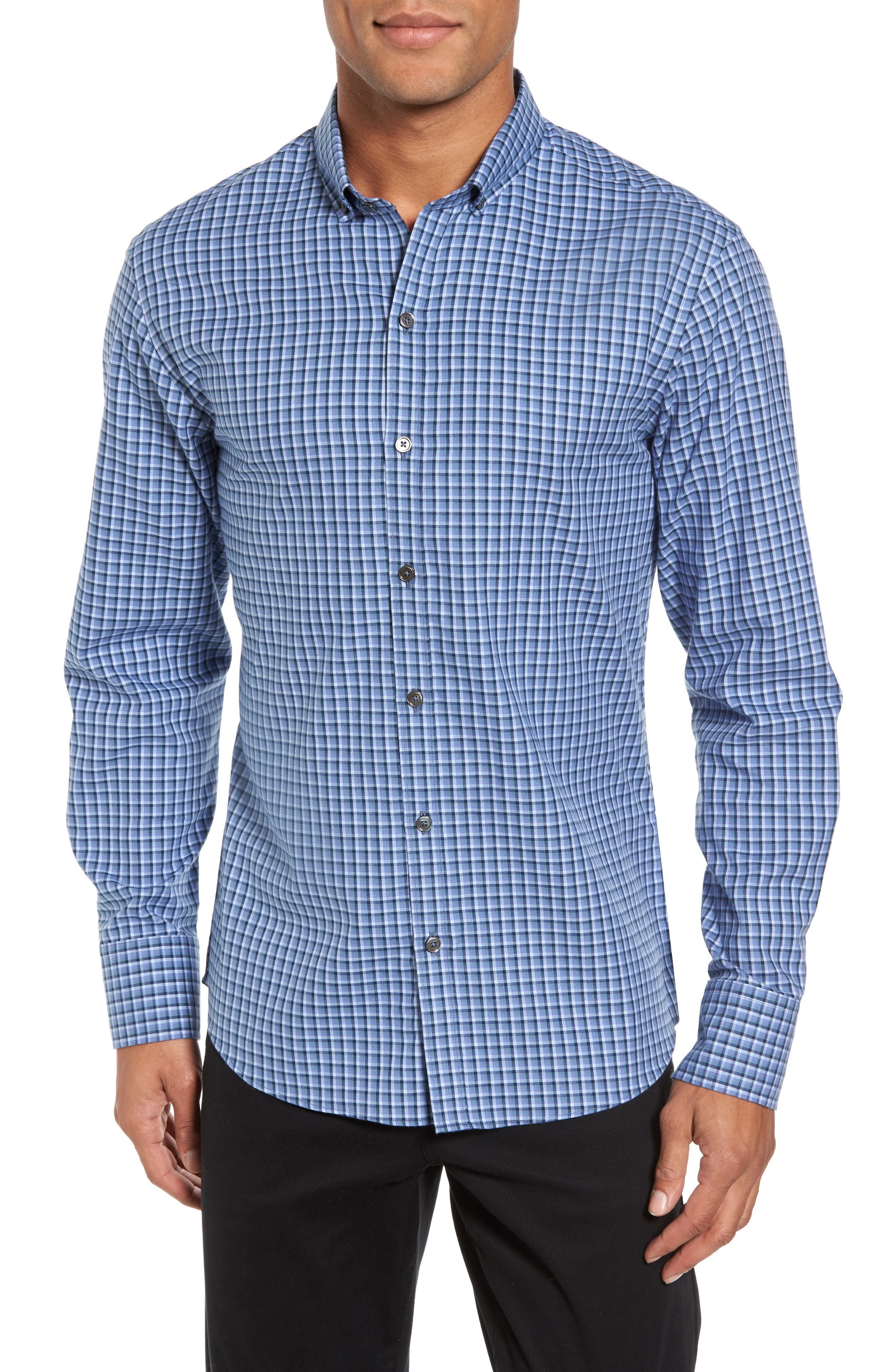 Kapur Slim Fit Check Sport Shirt,                             Main thumbnail 1, color,                             Azure