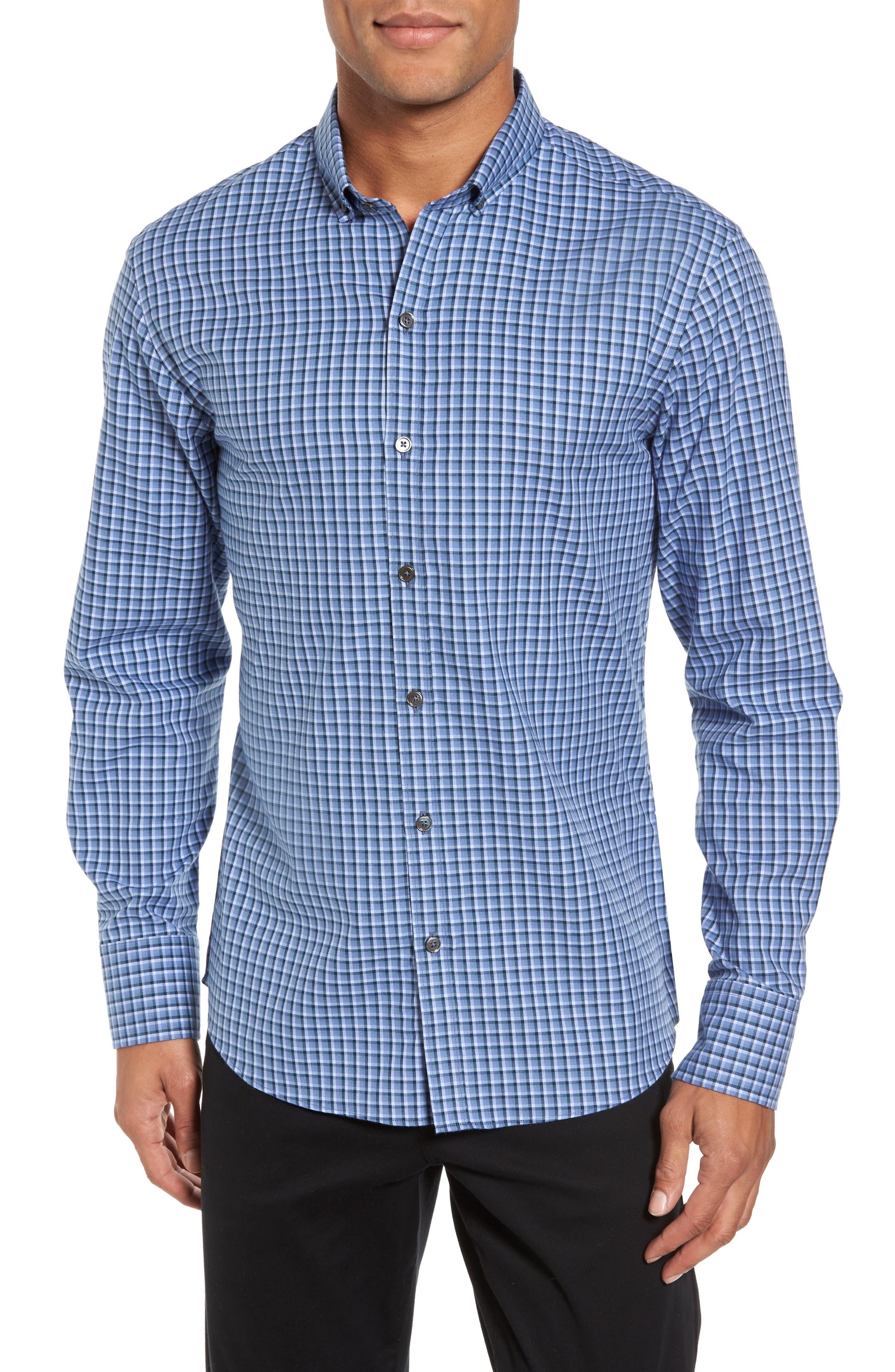 Kapur Slim Fit Check Sport Shirt,                         Main,                         color, Azure