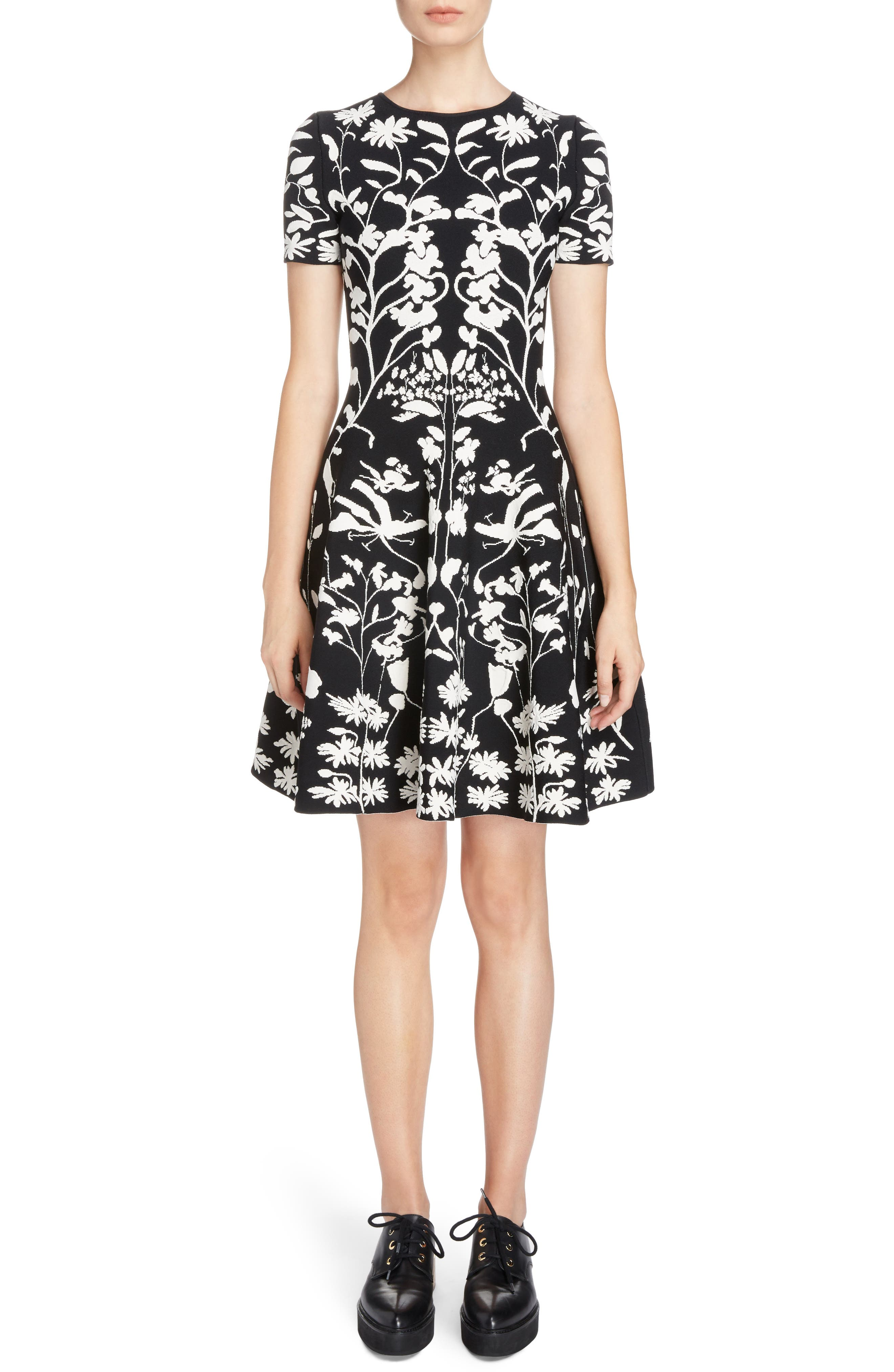Botanical Jacquard Knit Flounce Dress,                         Main,                         color, Black/ Ivory