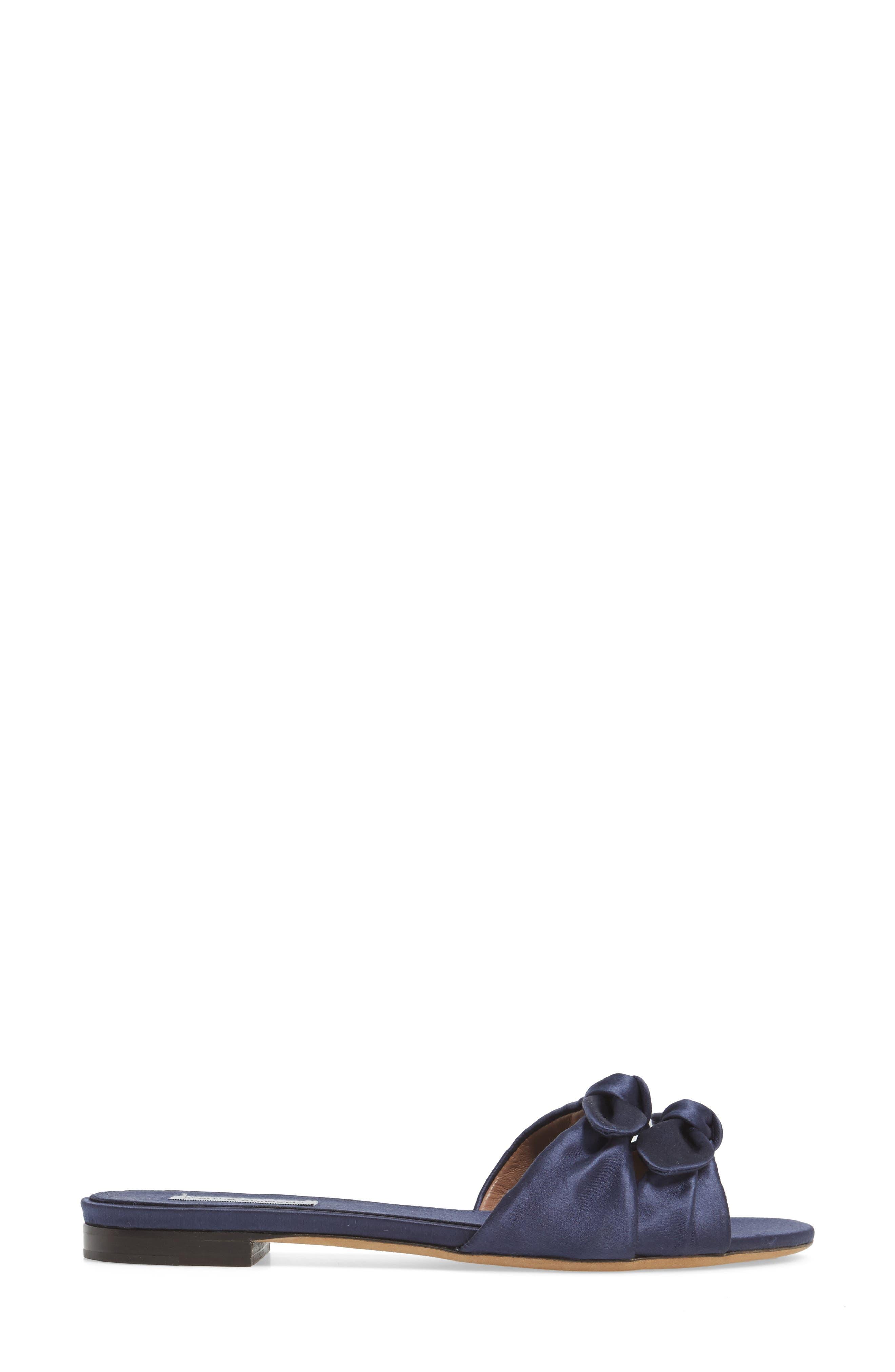 Cleo Knotted Bow Slide Sandal,                             Alternate thumbnail 3, color,                             Navy