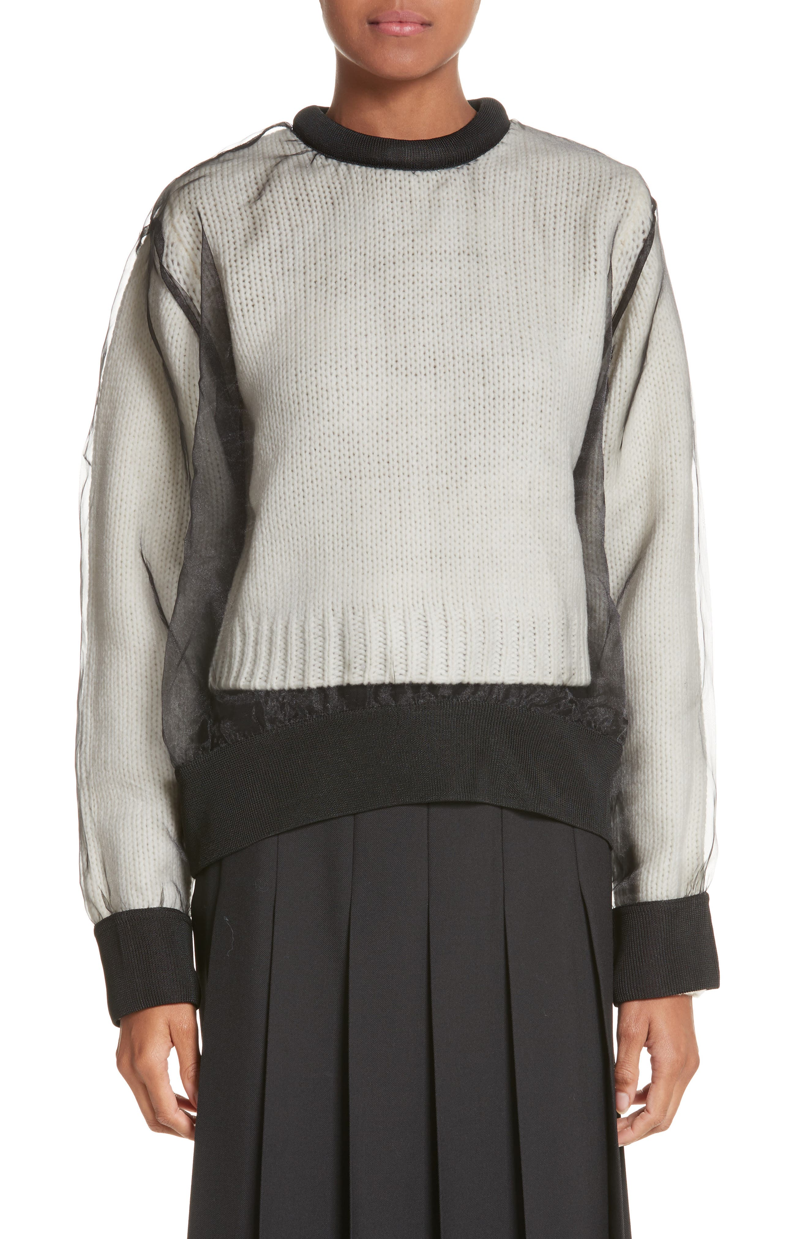 Main Image - noir kei ninomiya Organdy Overlay Sweater