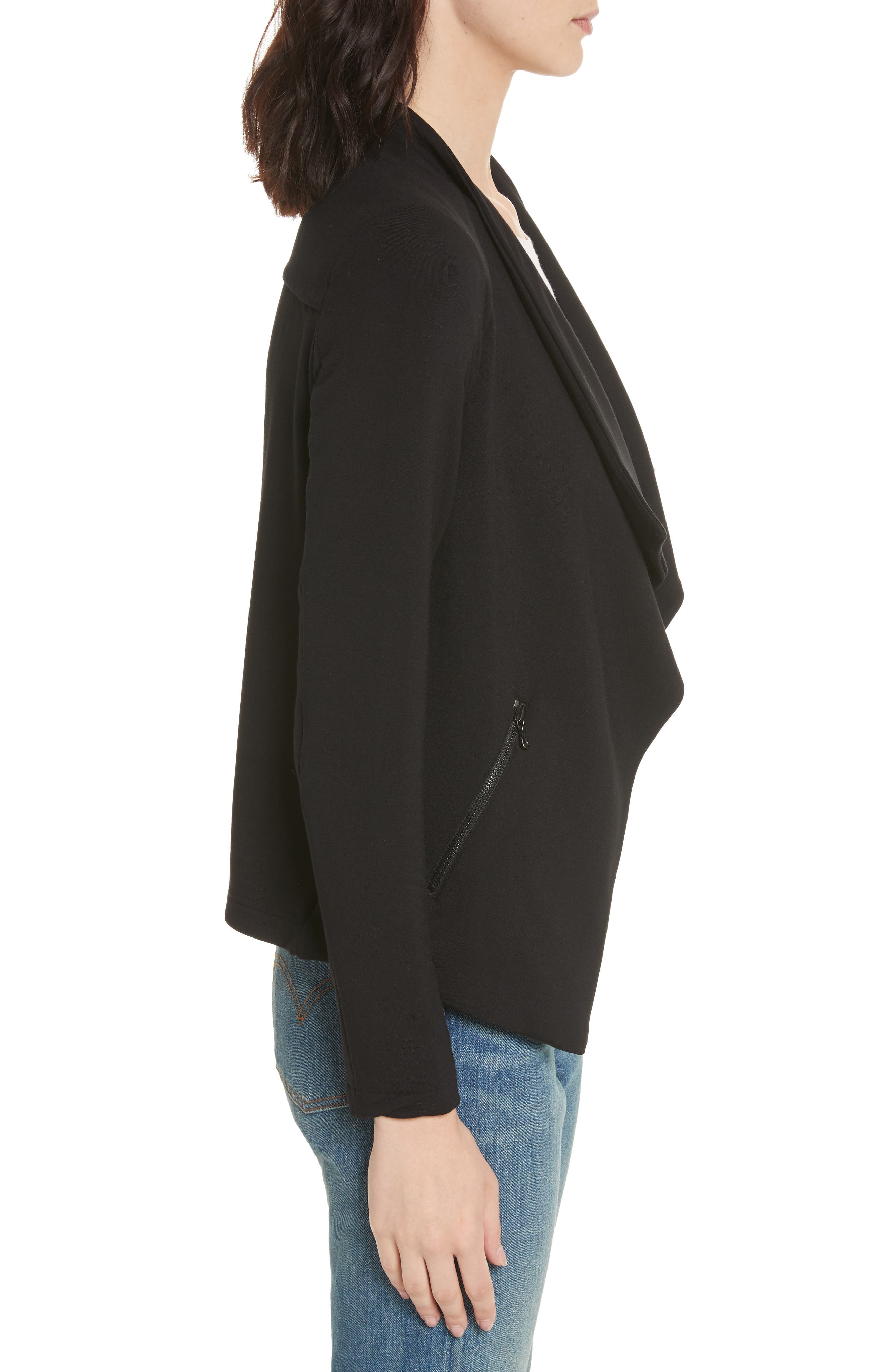 Soft Touch French Terry Moto Jacket,                             Alternate thumbnail 3, color,                             Noir