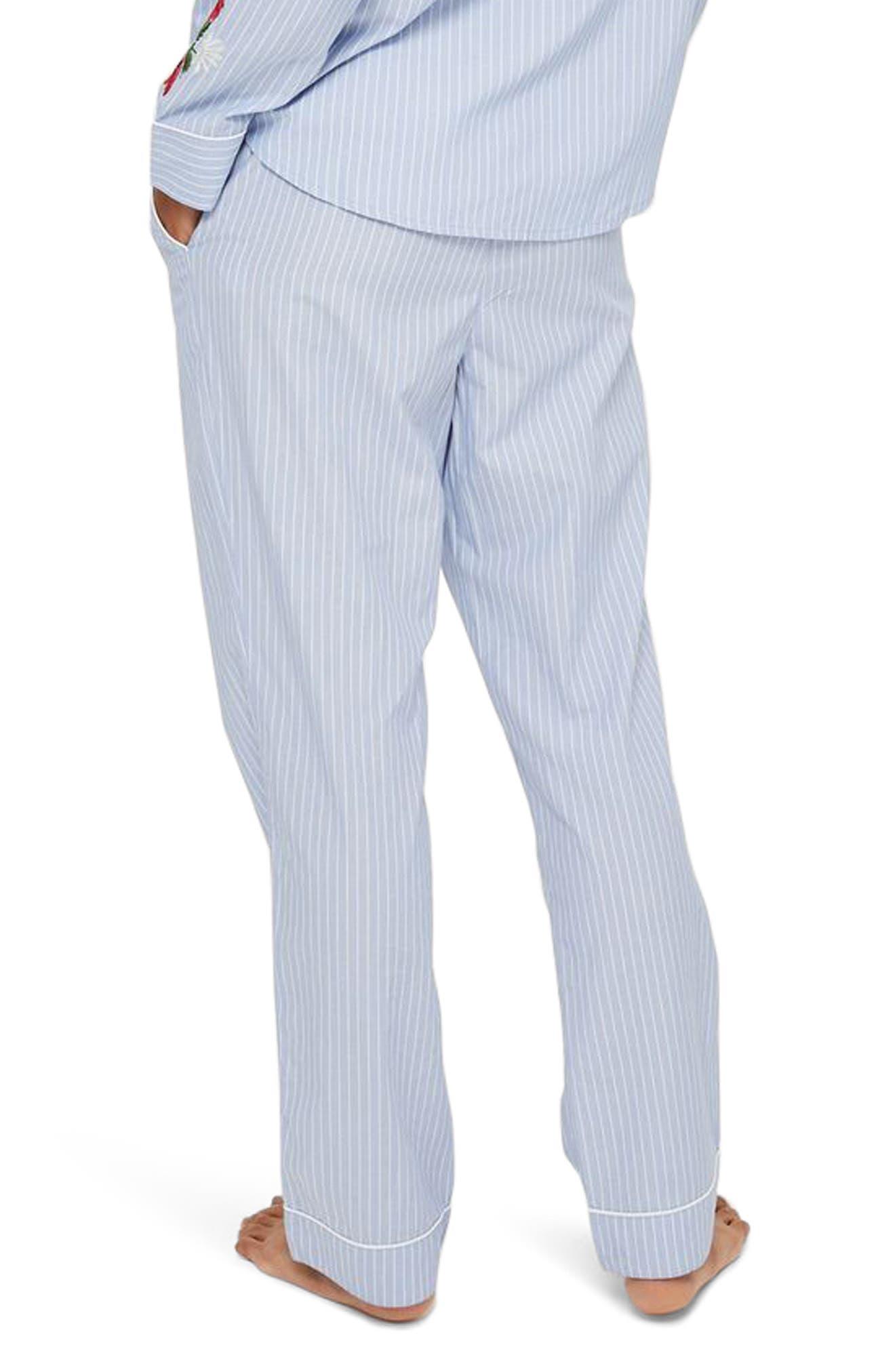 Alternate Image 2  - Topshop Floral Embroidered Stripe Pajama Pants