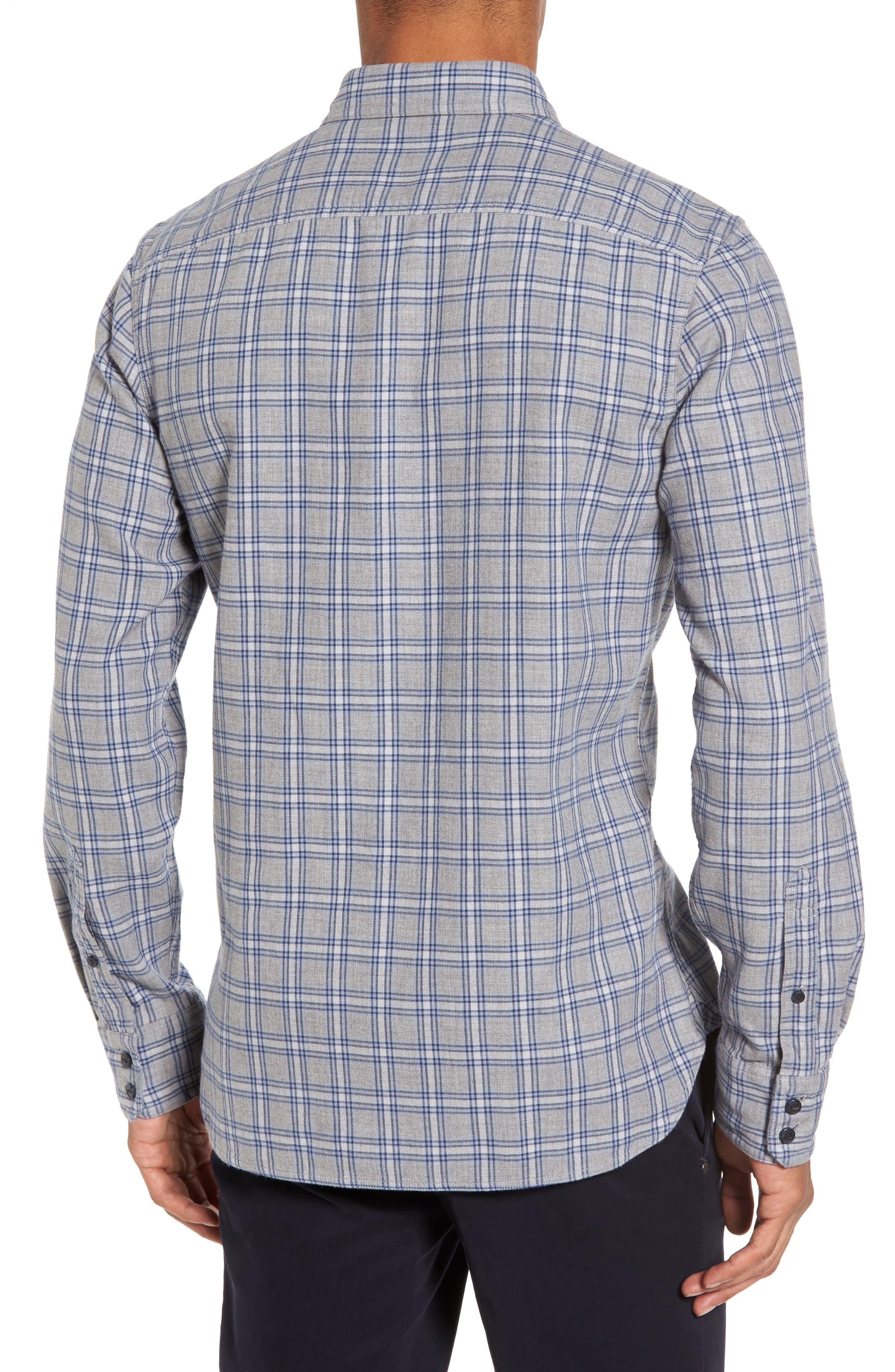 Workwear Duofold Check Sport Shirt,                             Alternate thumbnail 2, color,                             Navy Iris Grey Plaid Duofold
