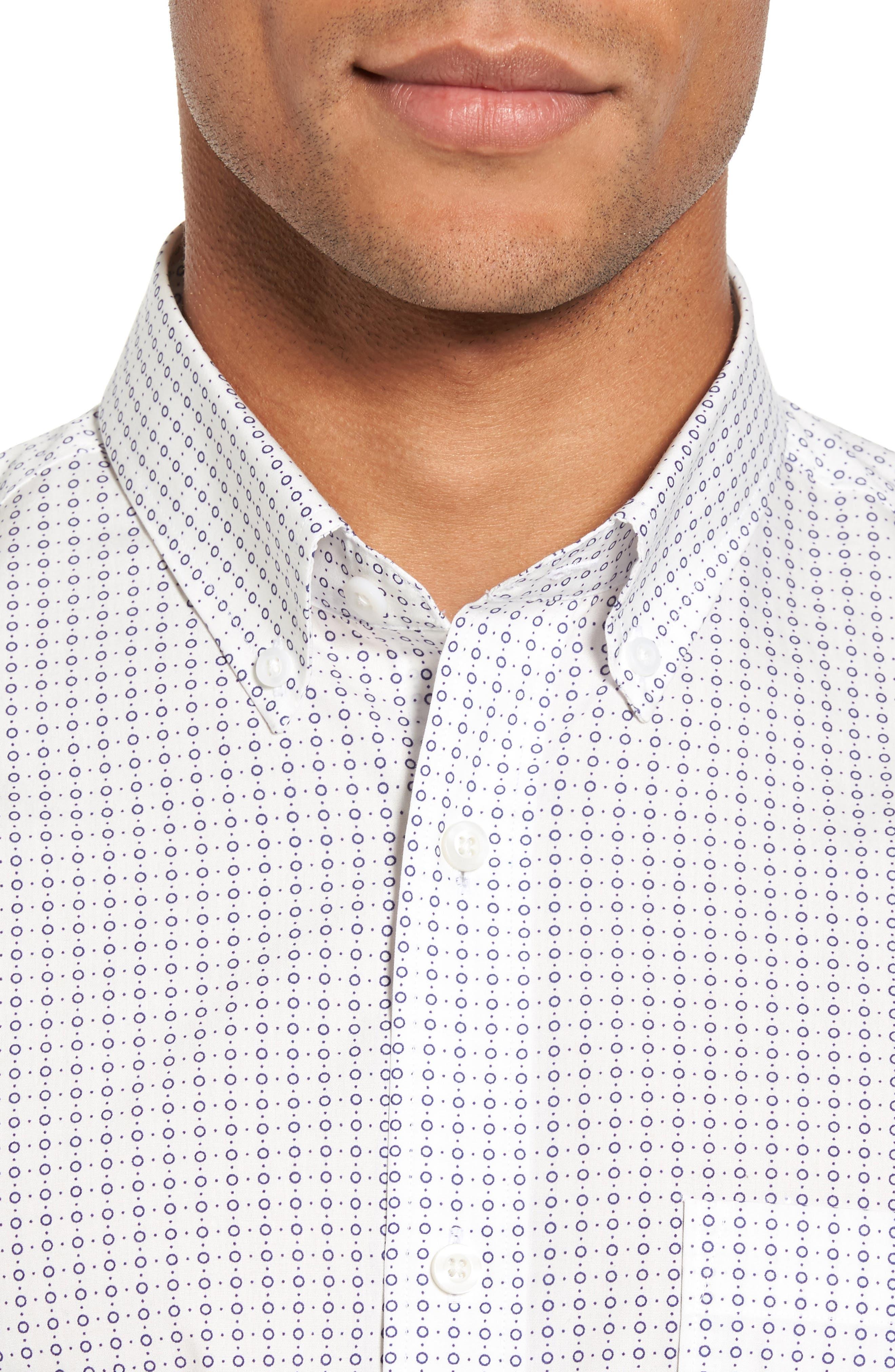 Trim Fit Non-Iron Circle Print Sport Shirt,                             Alternate thumbnail 4, color,                             Ivory Egret Circle Print