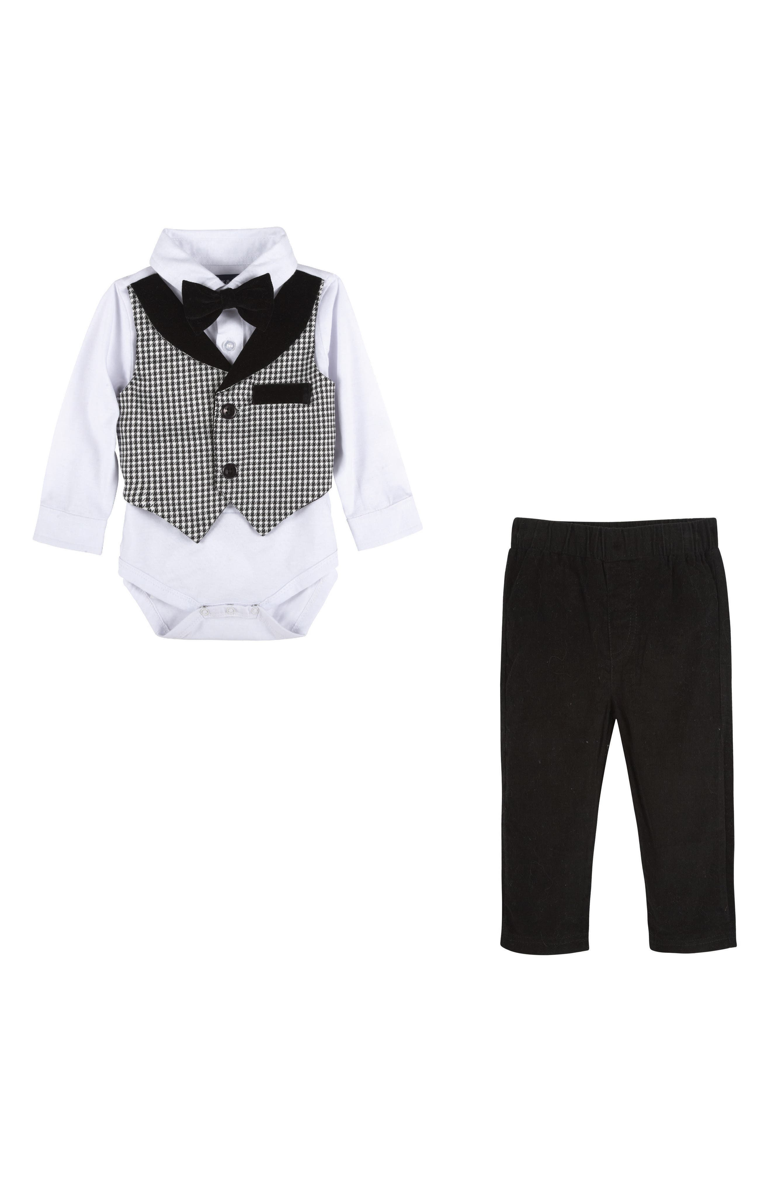 Pants, Shirt & Bow Tie Set,                         Main,                         color, Black
