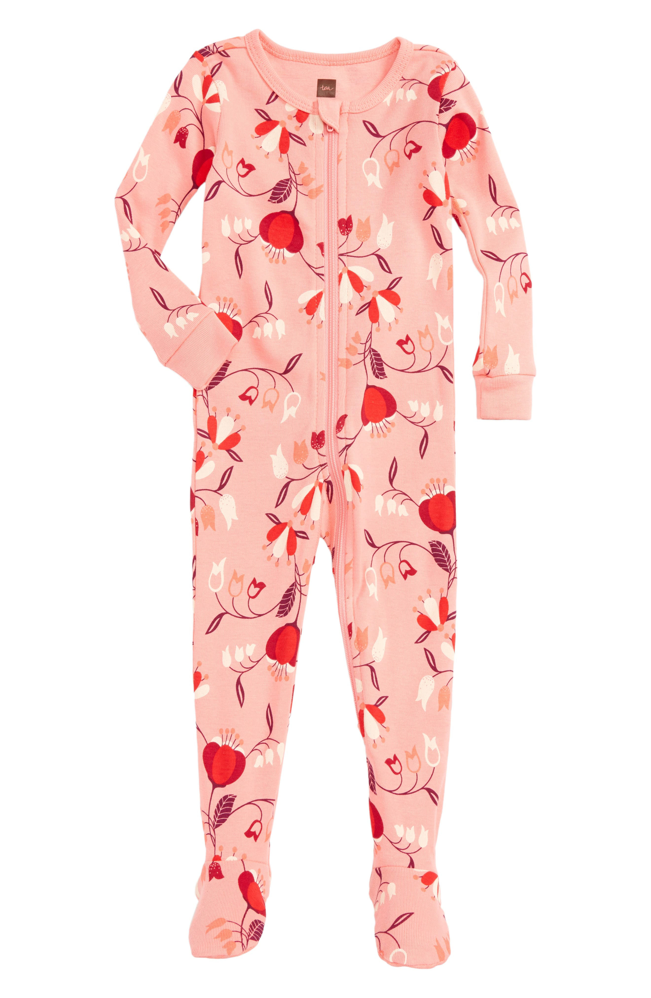 Main Image - Tea Collection Caer Fitted One-Piece Pajamas (Baby Girls)