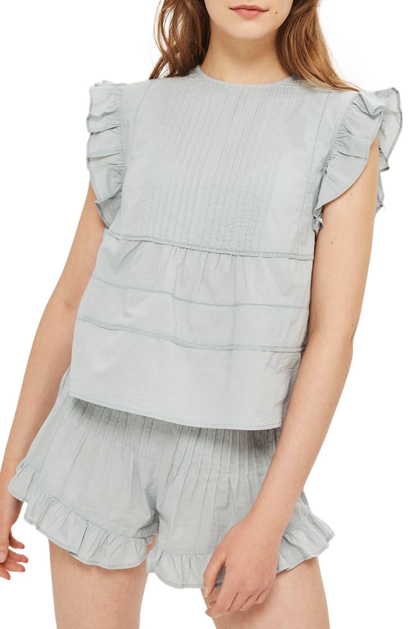 Main Image - Topshop Bella Frilly Pajamas