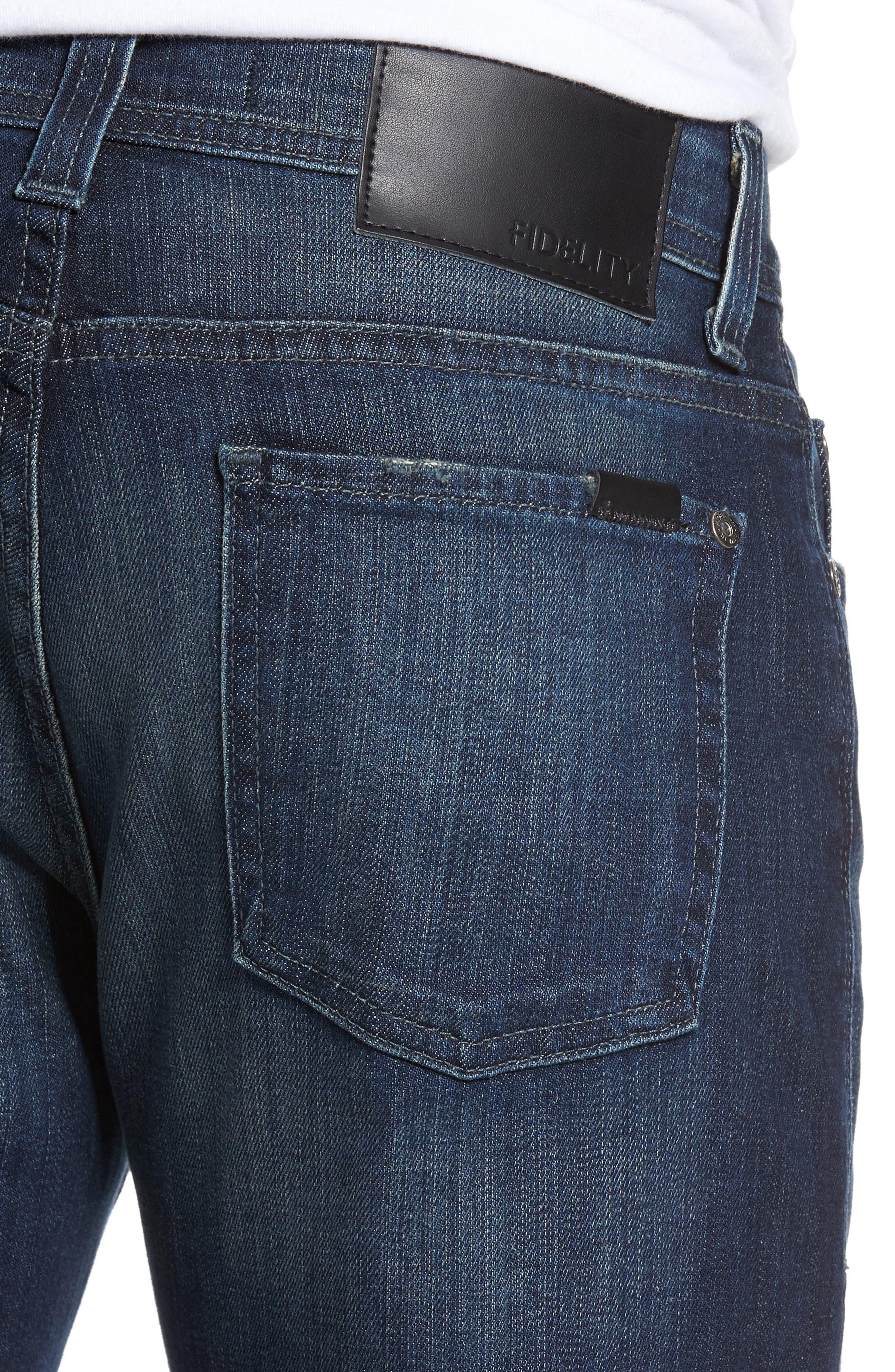 Alternate Image 4  - Fidelity Denim Jimmy Slim Straight Leg Jeans (Militia Blue)