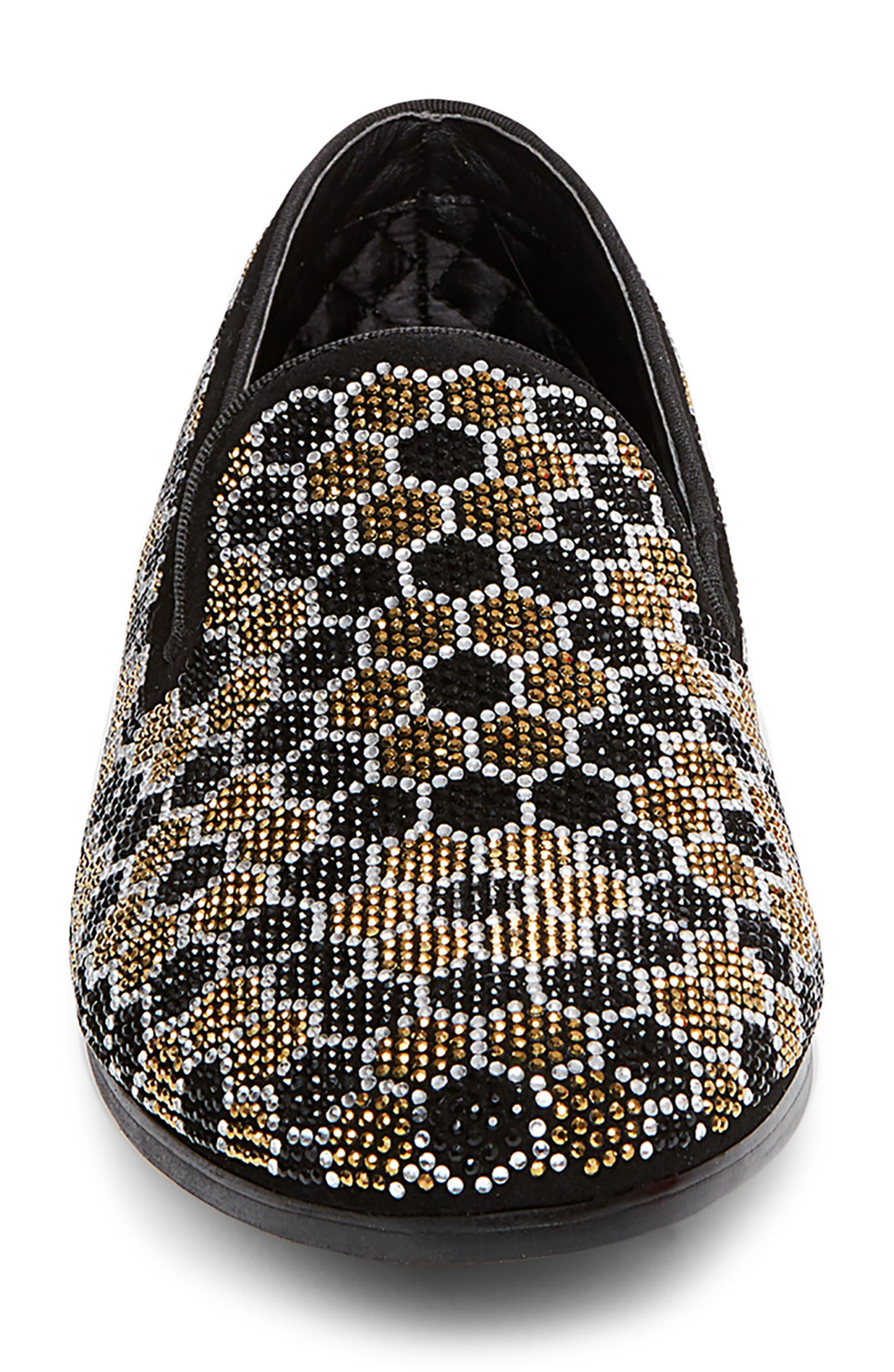 Caspian Studded Venetian Loafer,                             Alternate thumbnail 4, color,                             Black/ Gold