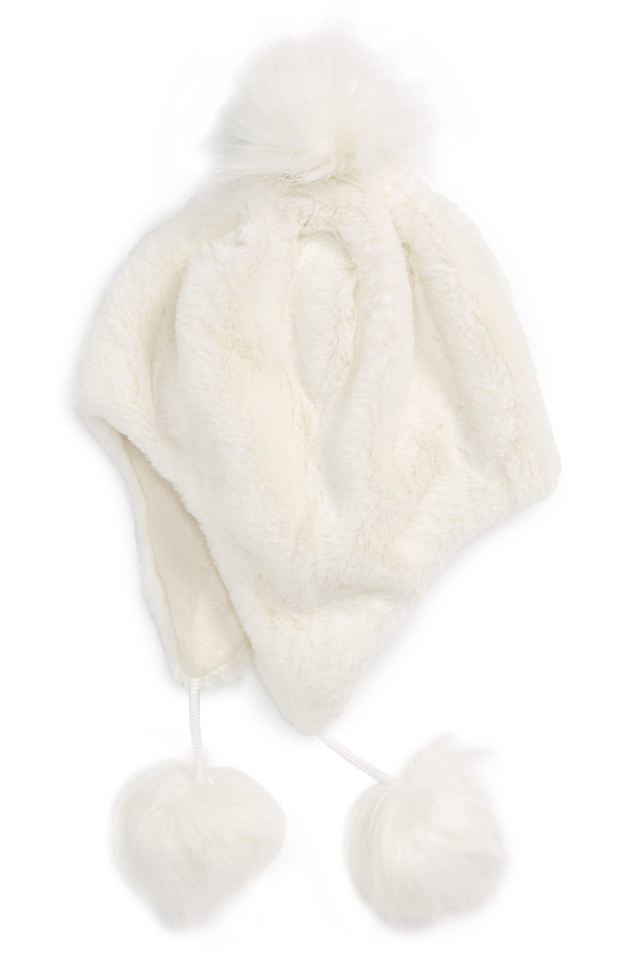 Faux Fur Earflap Hat,                             Main thumbnail 1, color,                             Ivory Egret