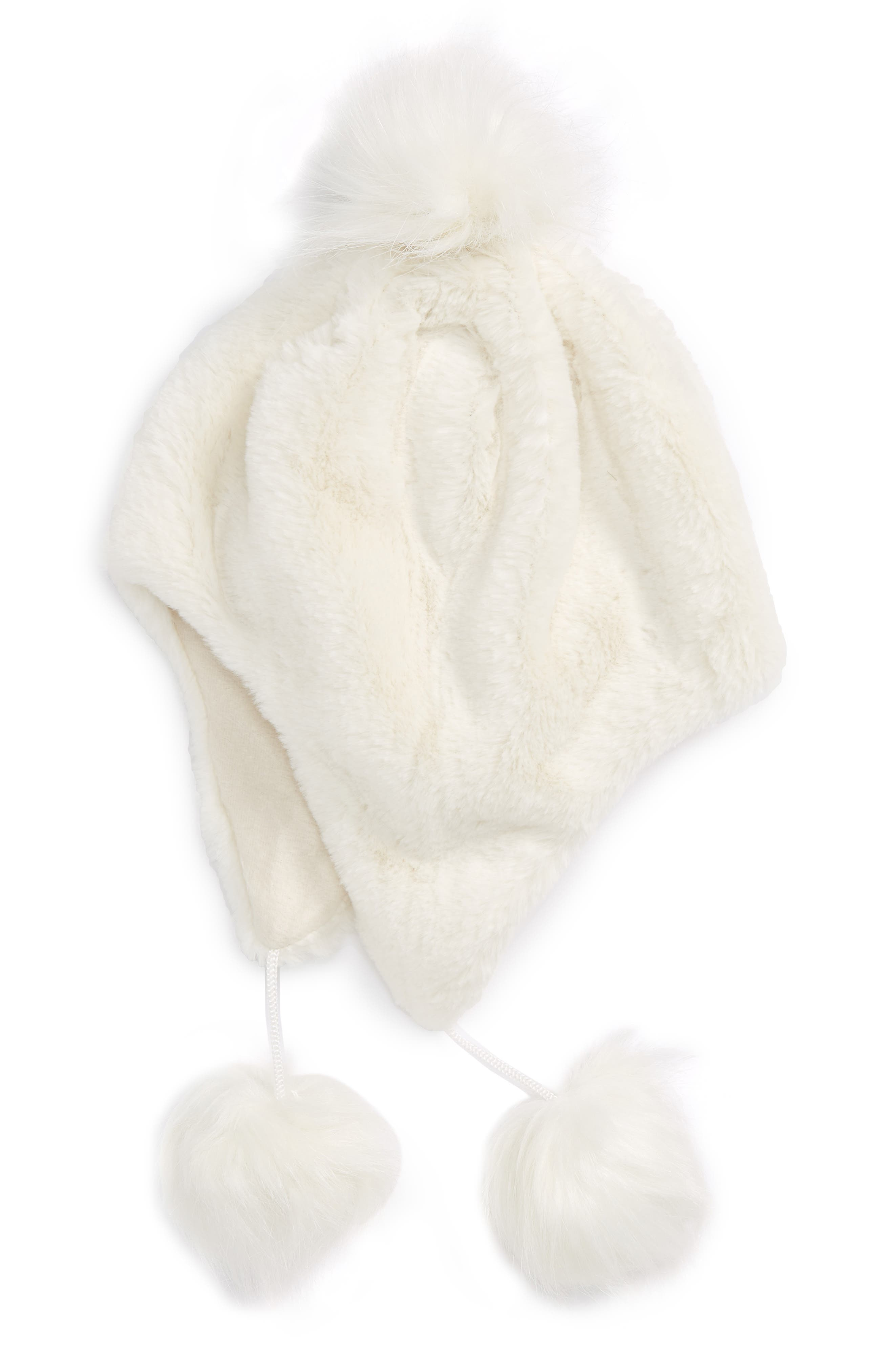 Faux Fur Earflap Hat,                         Main,                         color, Ivory Egret