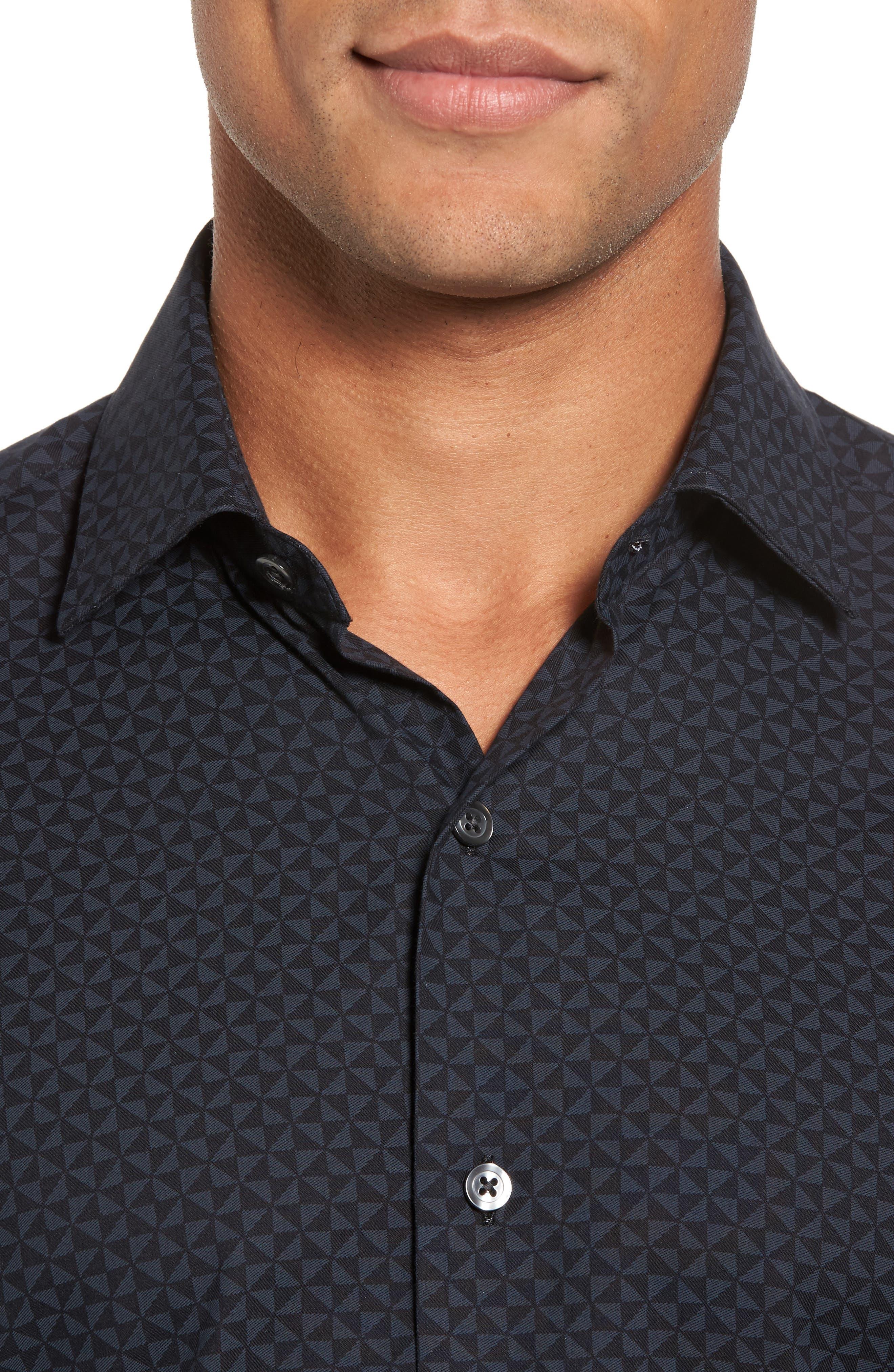 Slim Fit Geo Print Twill Sport Shirt,                             Alternate thumbnail 4, color,                             Black