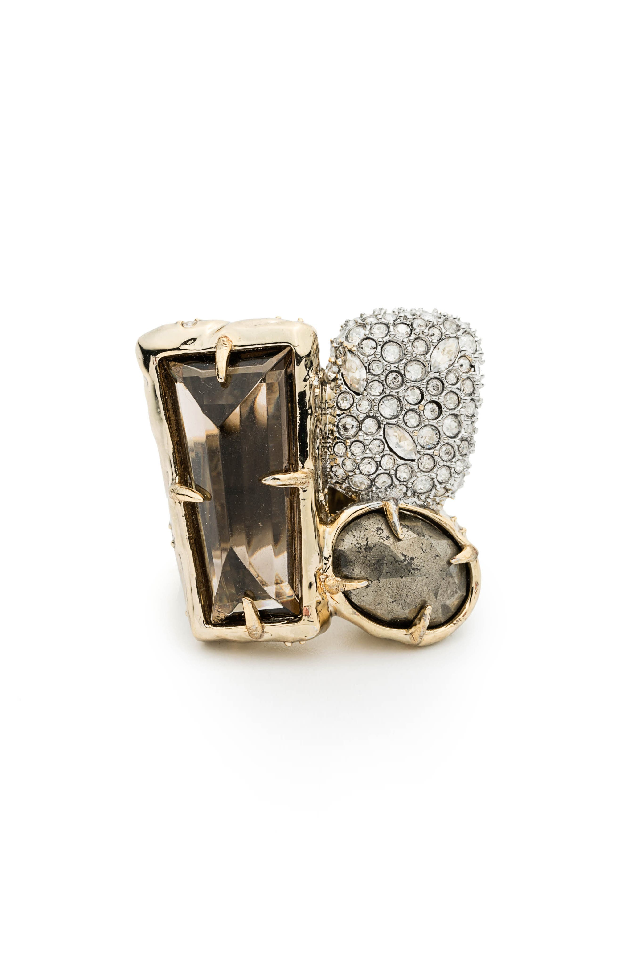 Elements Crystal Statement Ring,                             Alternate thumbnail 2, color,                             Gold