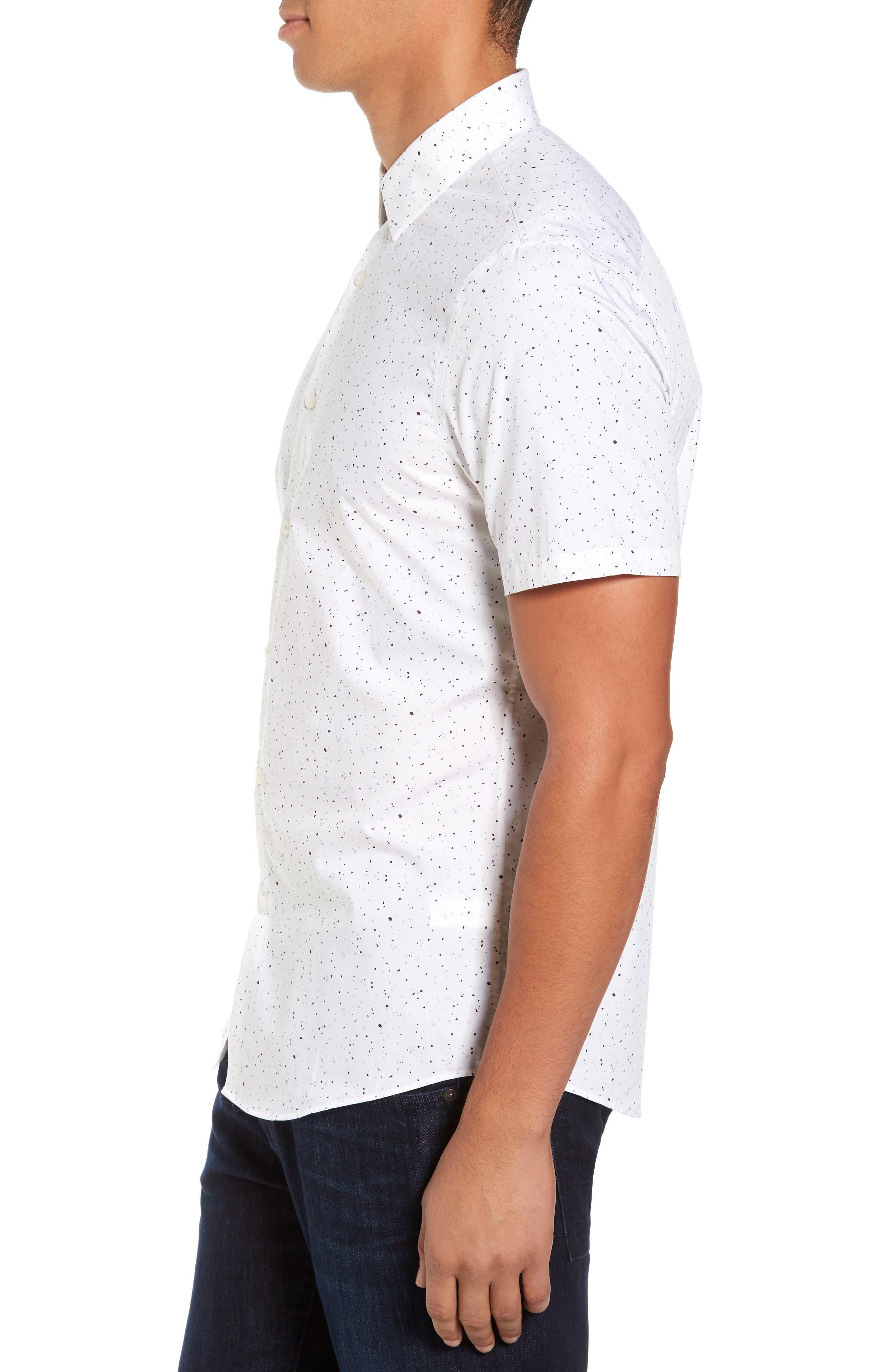 Speckle Print Sport Shirt,                             Alternate thumbnail 3, color,                             White Plum Splatter Print