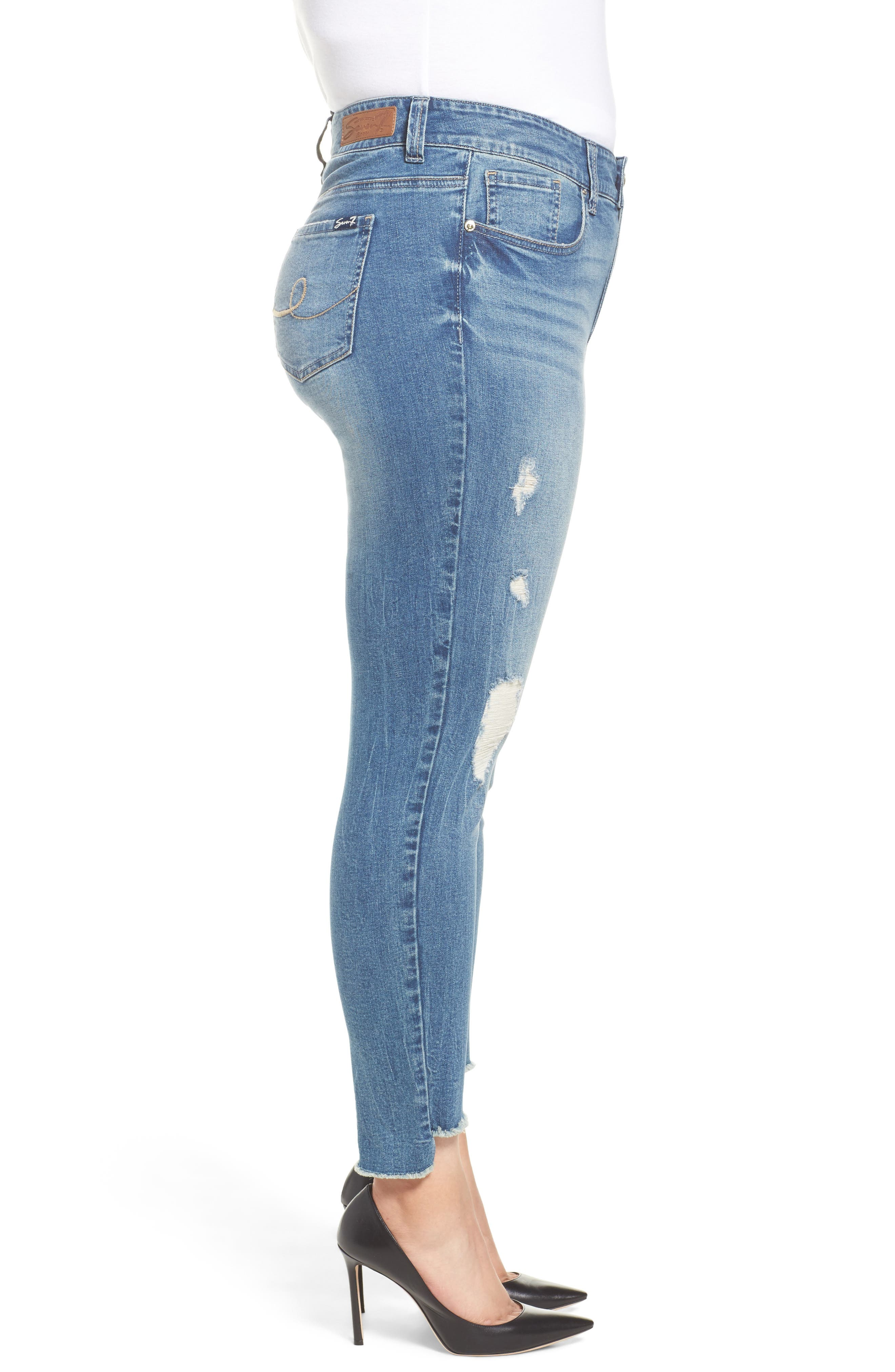Alternate Image 3  - Seven7 High/Low Ankle Skinny Jeans (Molokai) (Plus Size)