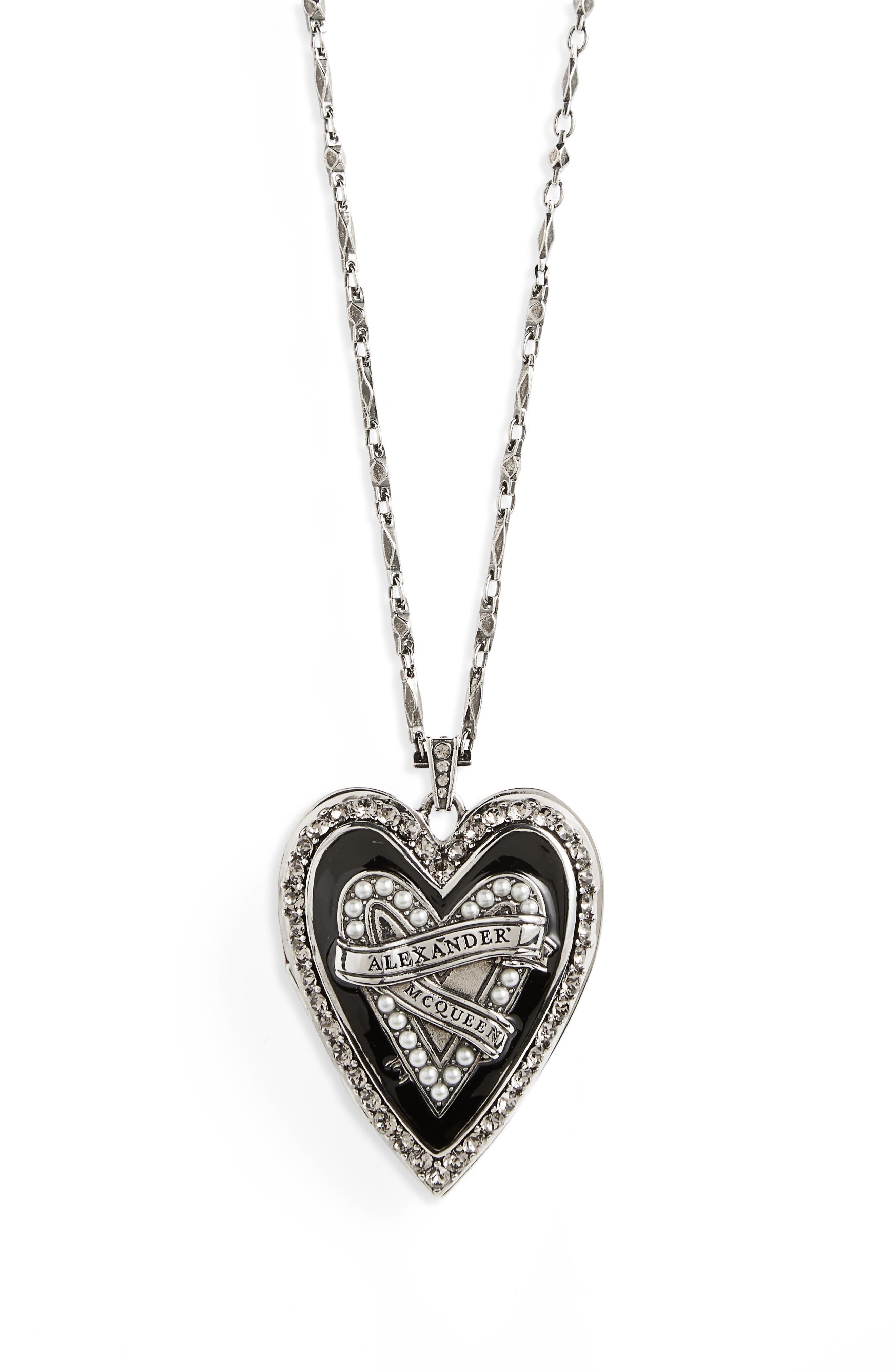Heart Pendant Necklace,                             Alternate thumbnail 2, color,                             Antique Silver/ Jet