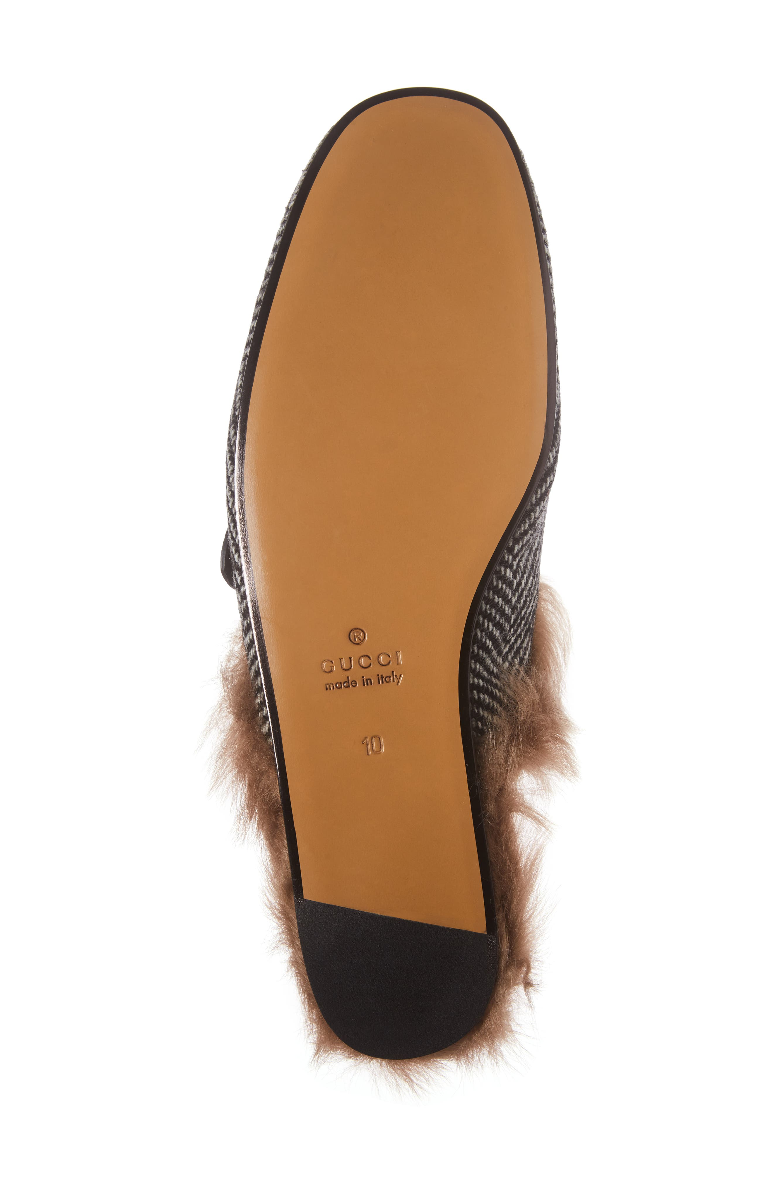 New Princetown Genuine Shearling Herringbone Loafer Mule,                             Alternate thumbnail 6, color,                             Herringbone
